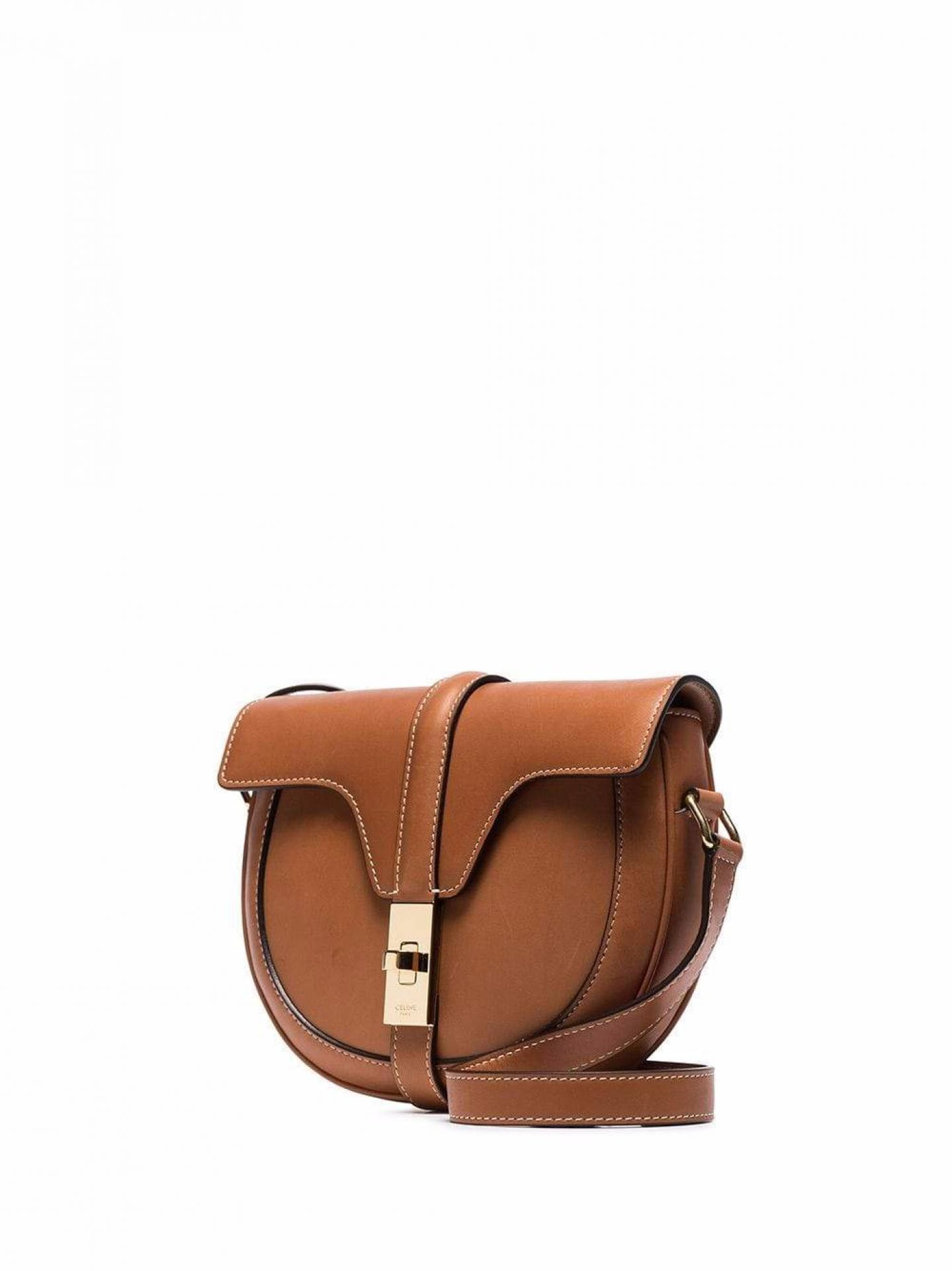 CELINE WOMENS BROWN TAN LEATHER SMALL BESACE SHOULDER BAG