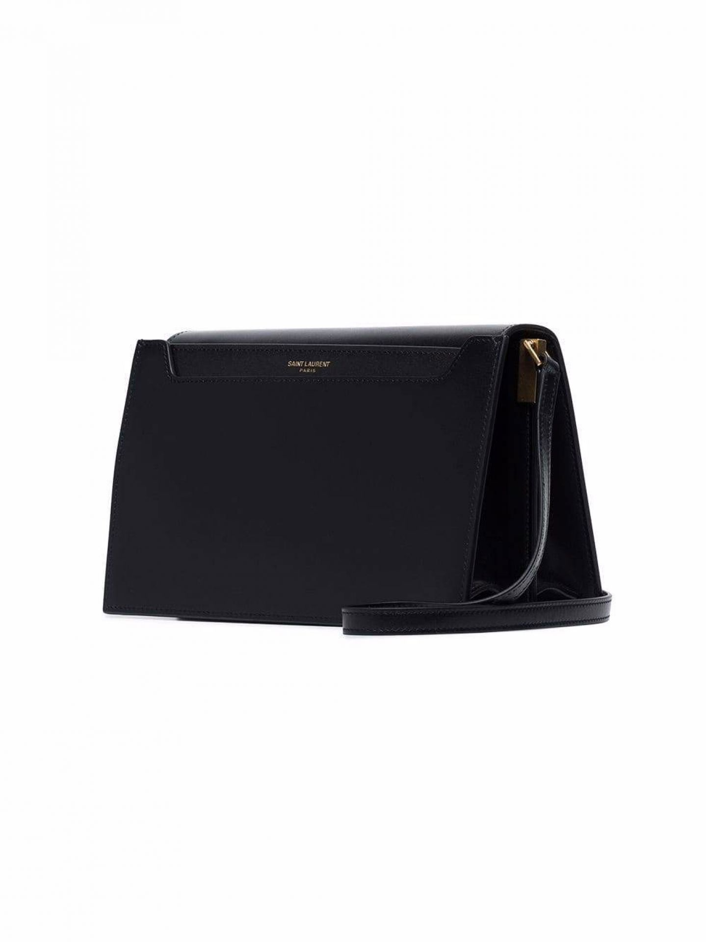 SAINT LAURENT WOMENS SMOOTH BLACK LEATHER CATHERINE SHOULDER BAG