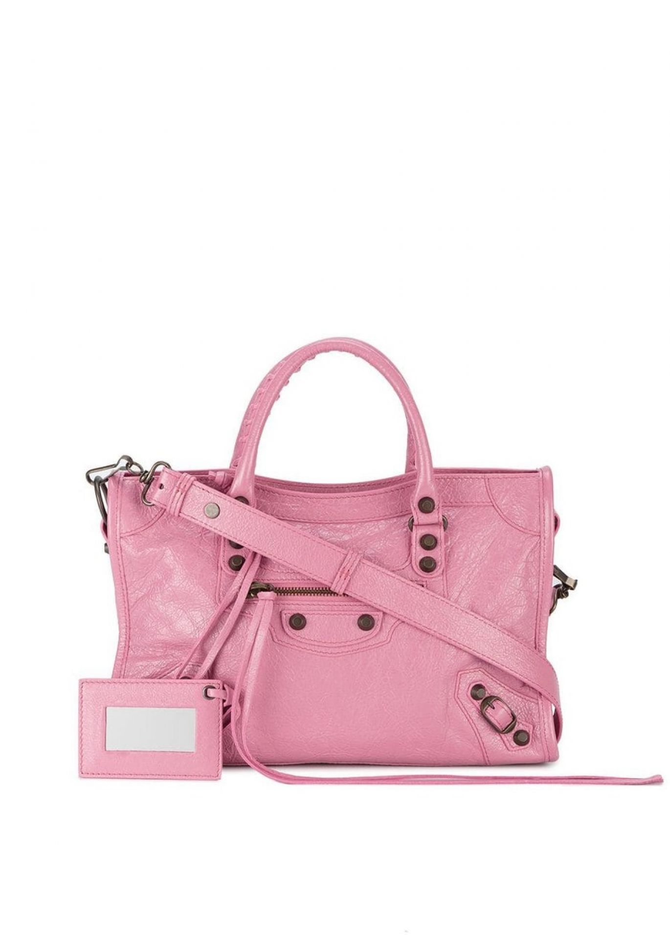 BALENCIAGA WOMENS PINK LEATHER CLASSIC CITY SMALL SHOULDER BAG