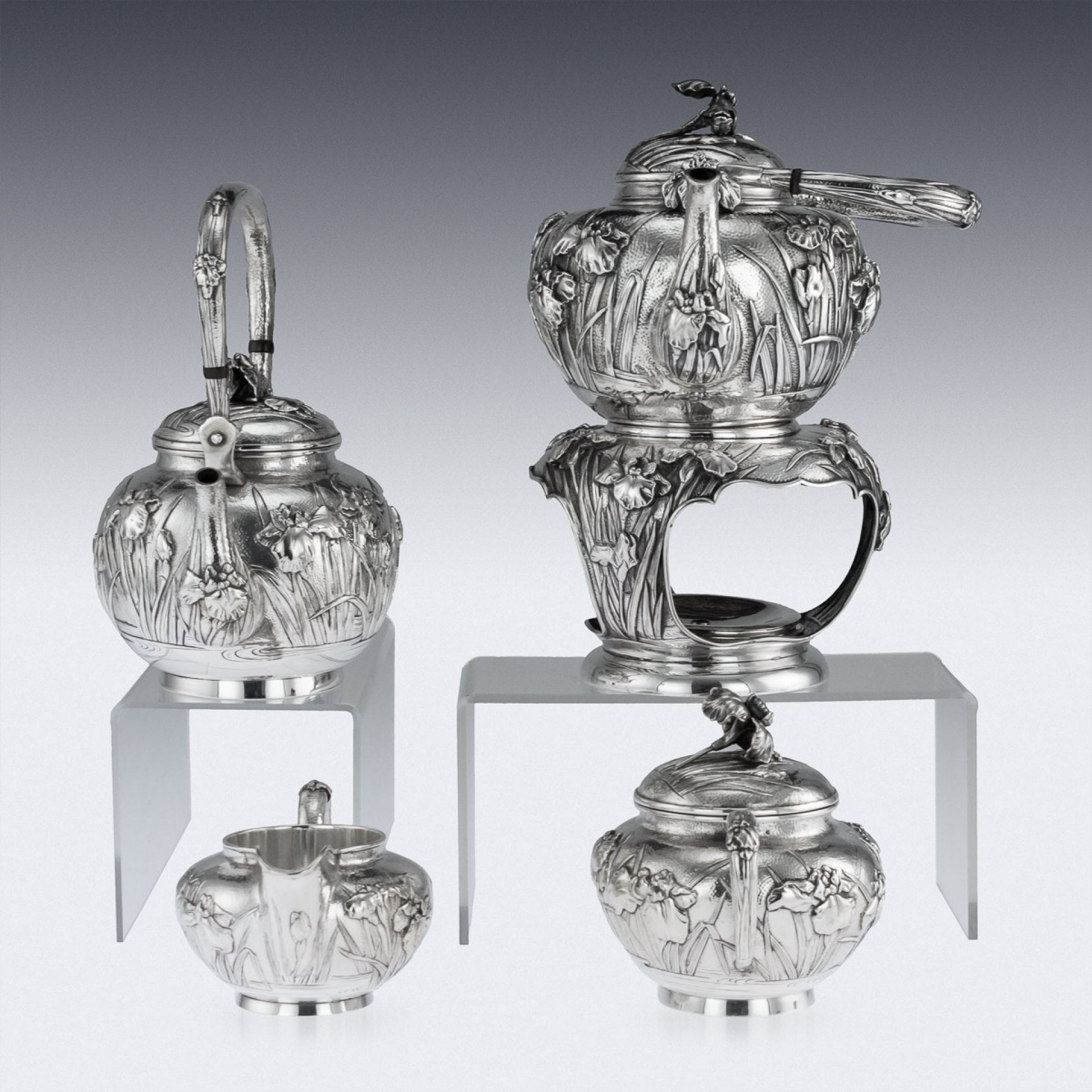 ANTIQUE 20thC JAPANESE SOLID SILVER TEA & COFFEE SERVICE ON TRAY c.1900