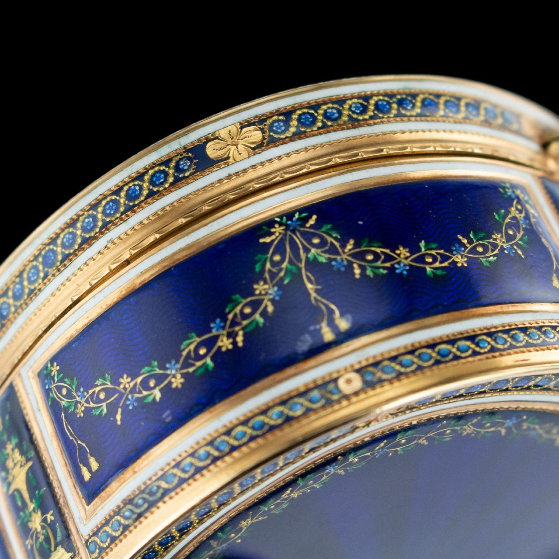 ANTIQUE 18thC FRENCH 18k GOLD & ENAMEL SNUFF BOX, PARIS c.1784