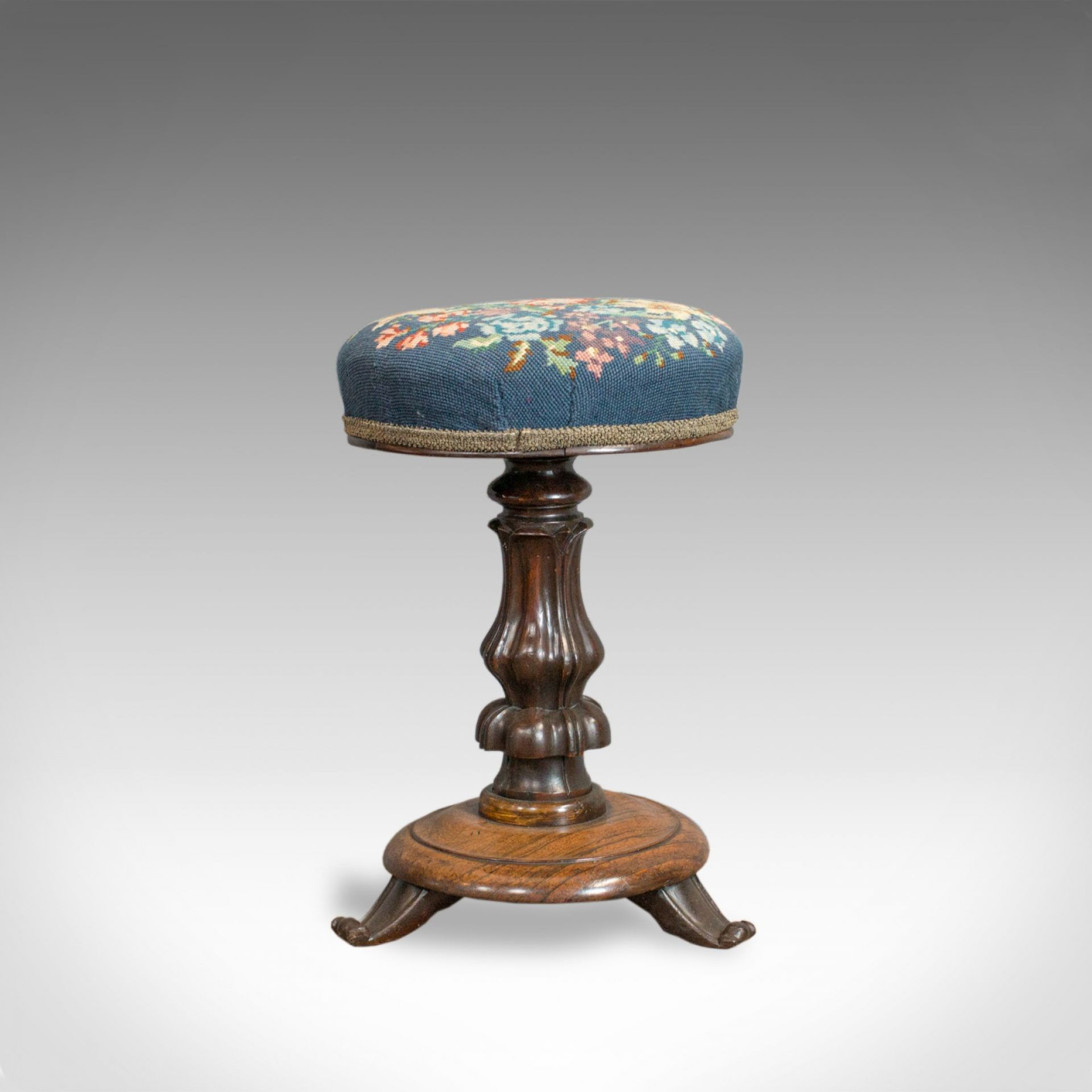 Antique Piano Stool, Rosewood, Music, Regency, Adjustable, Needlepoint, c.1830