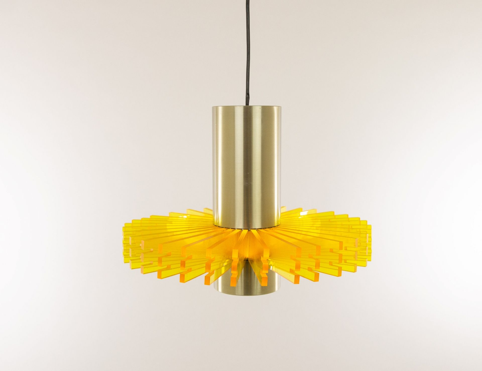 Yellow 'Priest collar' pendant by Claus Bolby for Cebo Industri, 1960s