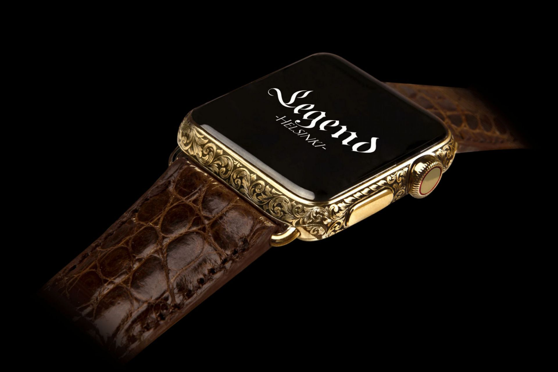 Bespoke Apple Watch series 5 by Legend, 24k gold hand engraved case, crocodile