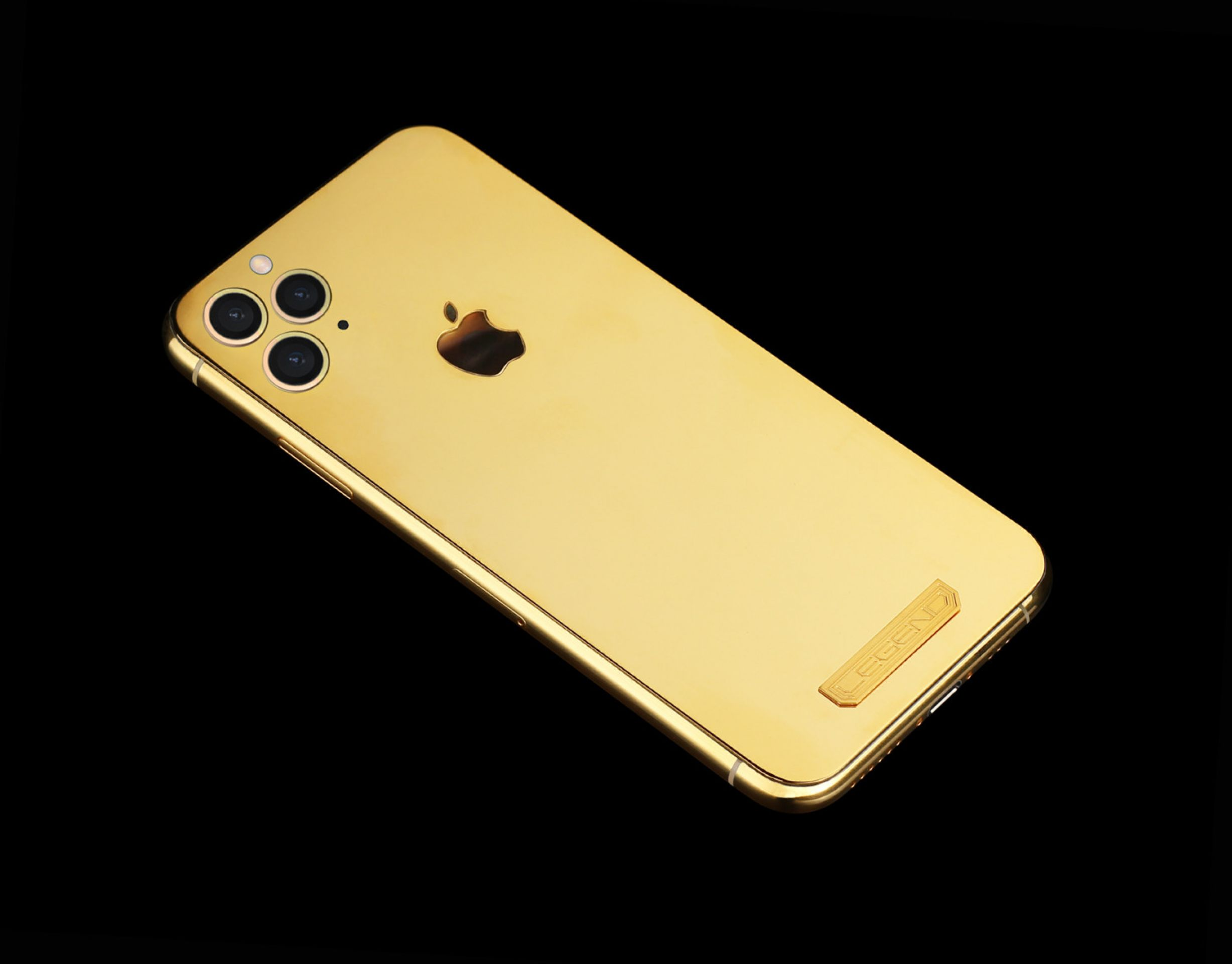 24k gold iPhone 11 Pro AURUM by Legend with mother of pearl Apple logo, airpods
