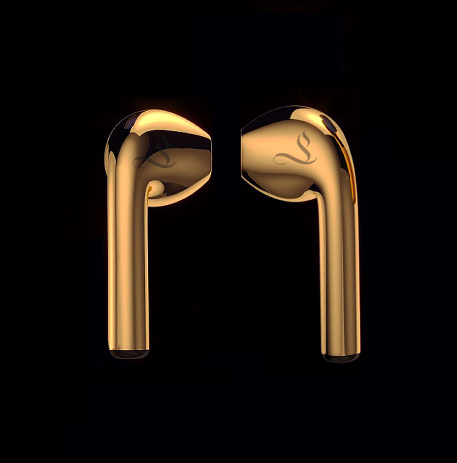 Solid 18k Gold Airpods second generation with bespoke engraving & 24k gold case