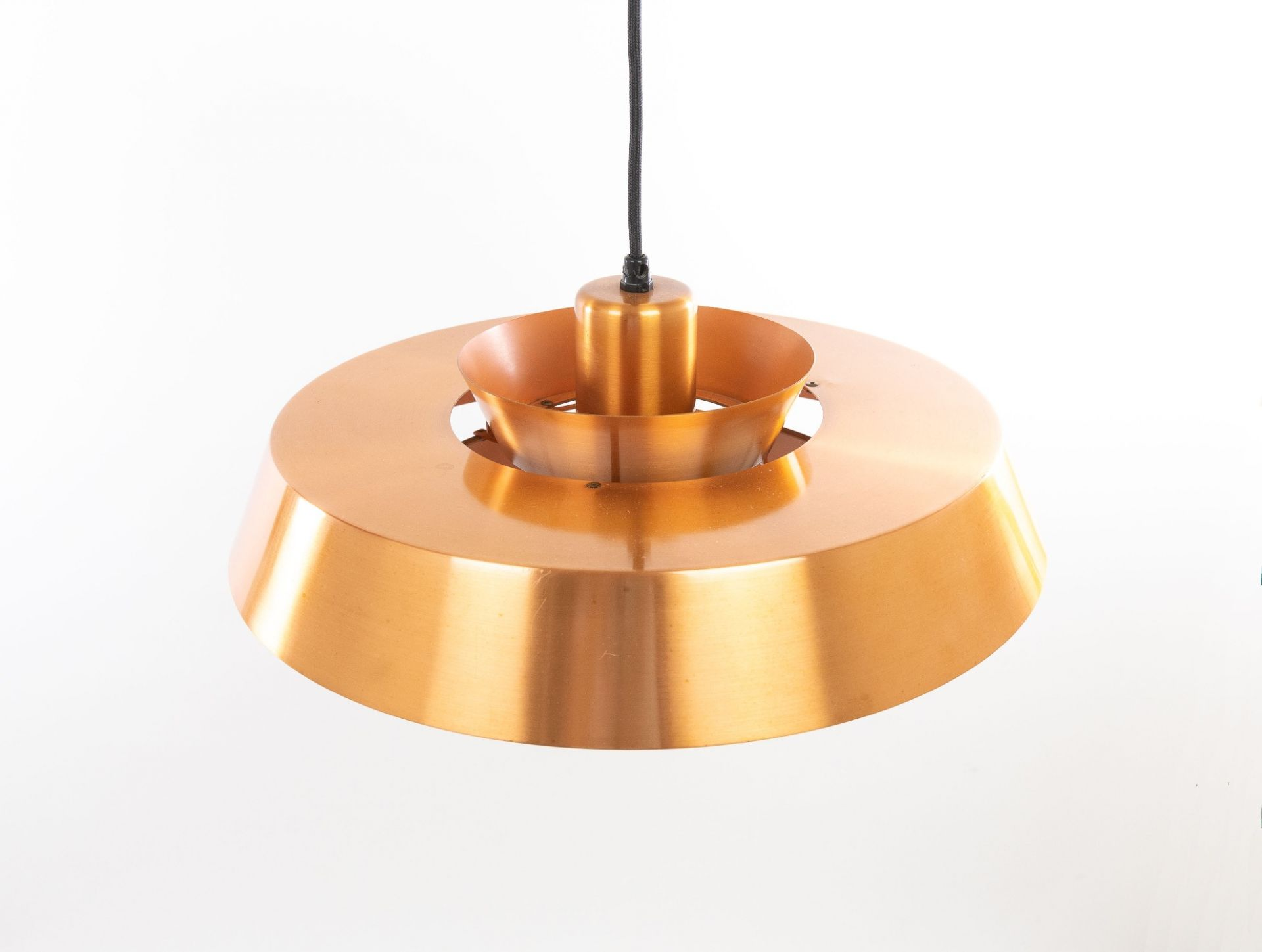 Pair of copper Nova pendants by Jo Hammerborg for Fog & Mørup, 1960s