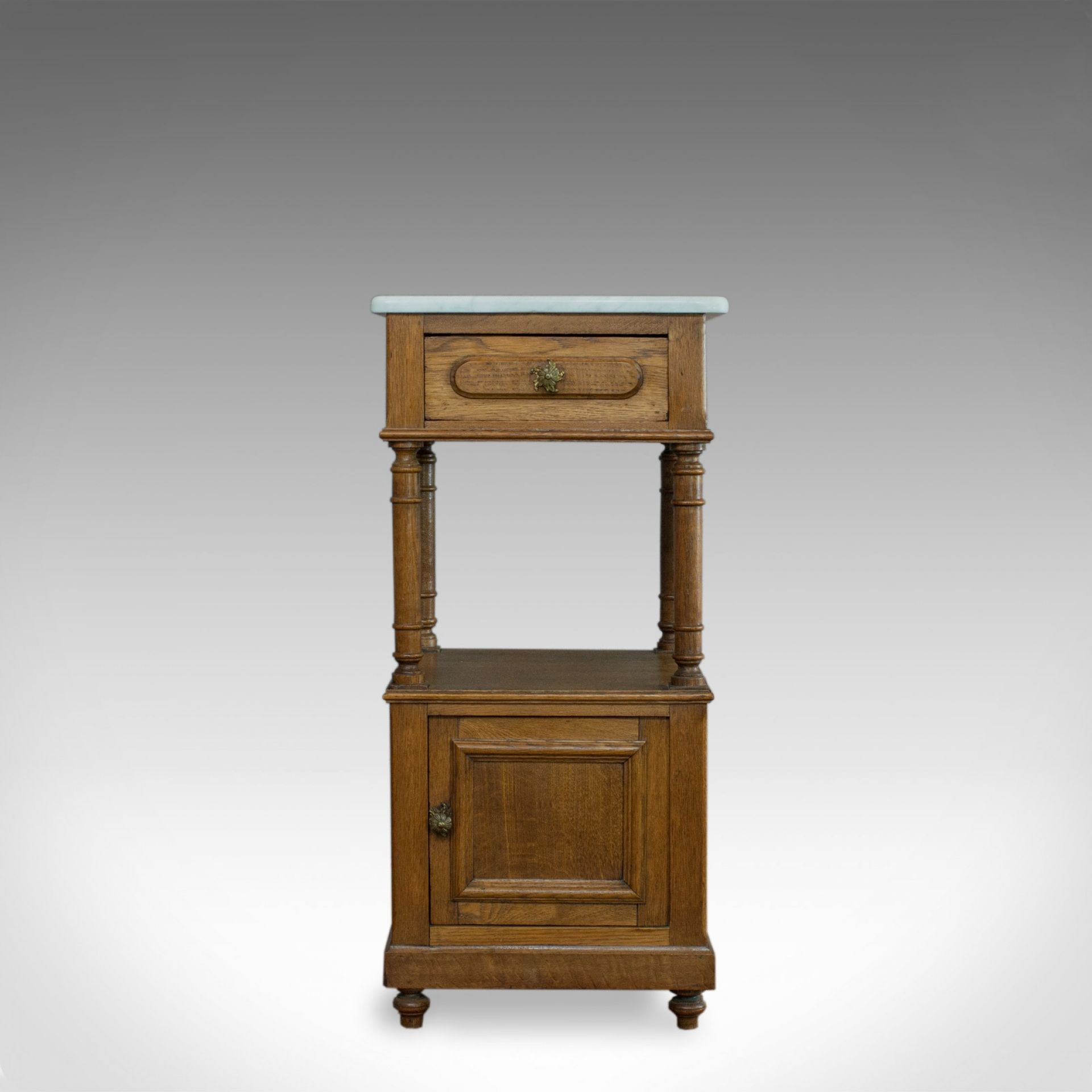 Antique Bedside Cabinet, French, Oak, Marble, Lamp, Nightstand, Circa 1930