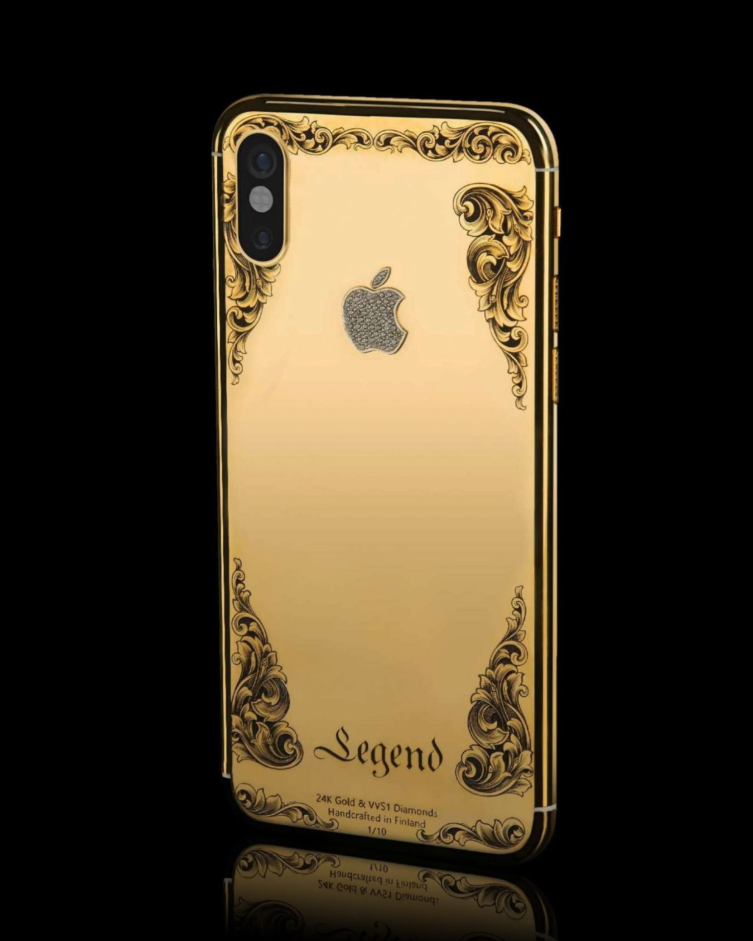 "Bespoke iPhone 11 Pro ""Classique"" by Legend, Diamonds, Hand Engraving & 24K Gold"