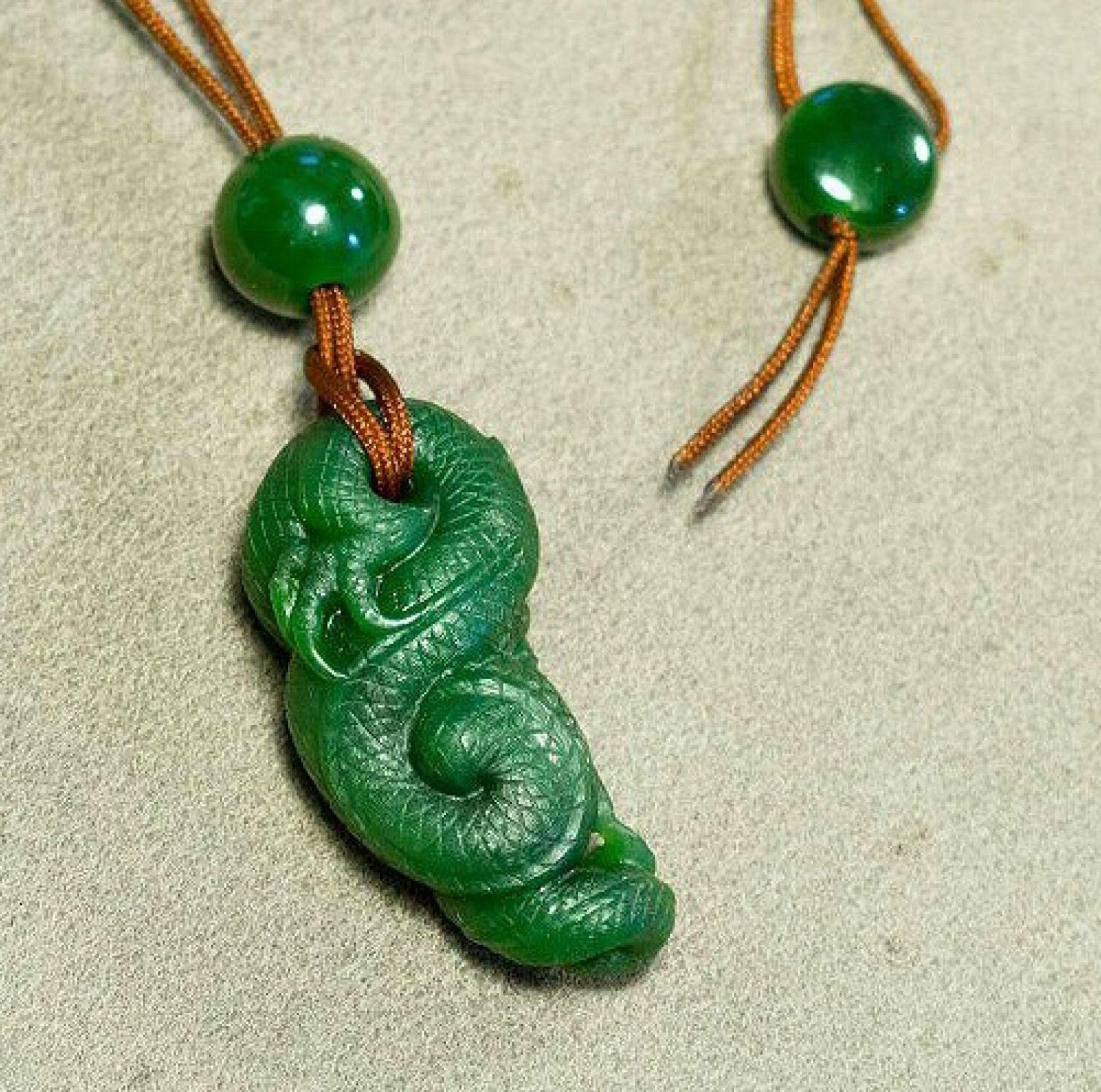 Dragon Jadeite Magatama Nephrite Pendant by Legend Gemstone Sculpture Carved