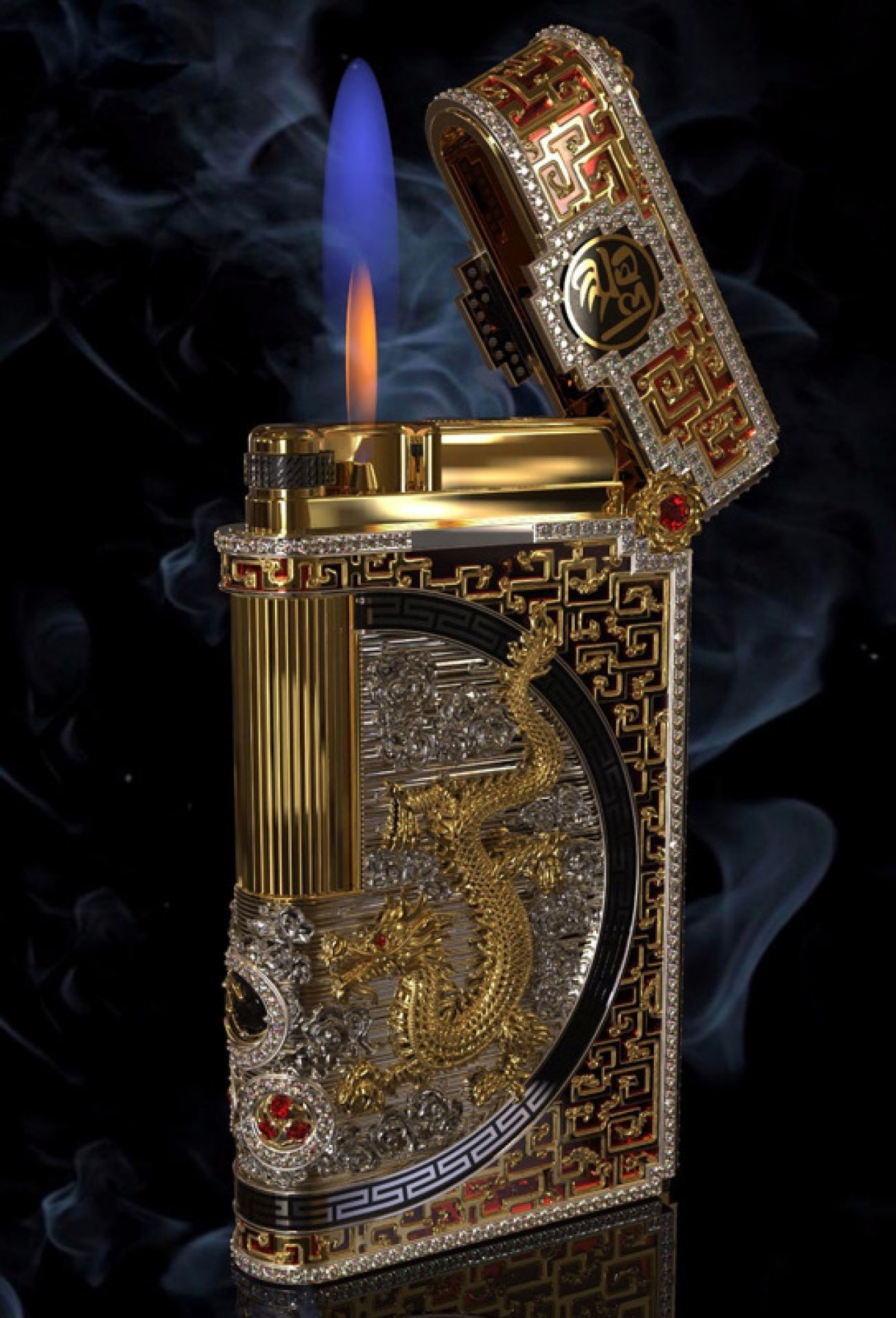 Bespoke 18k Gold & Diamonds Dragon lighter by Legend - Bespoke designs available