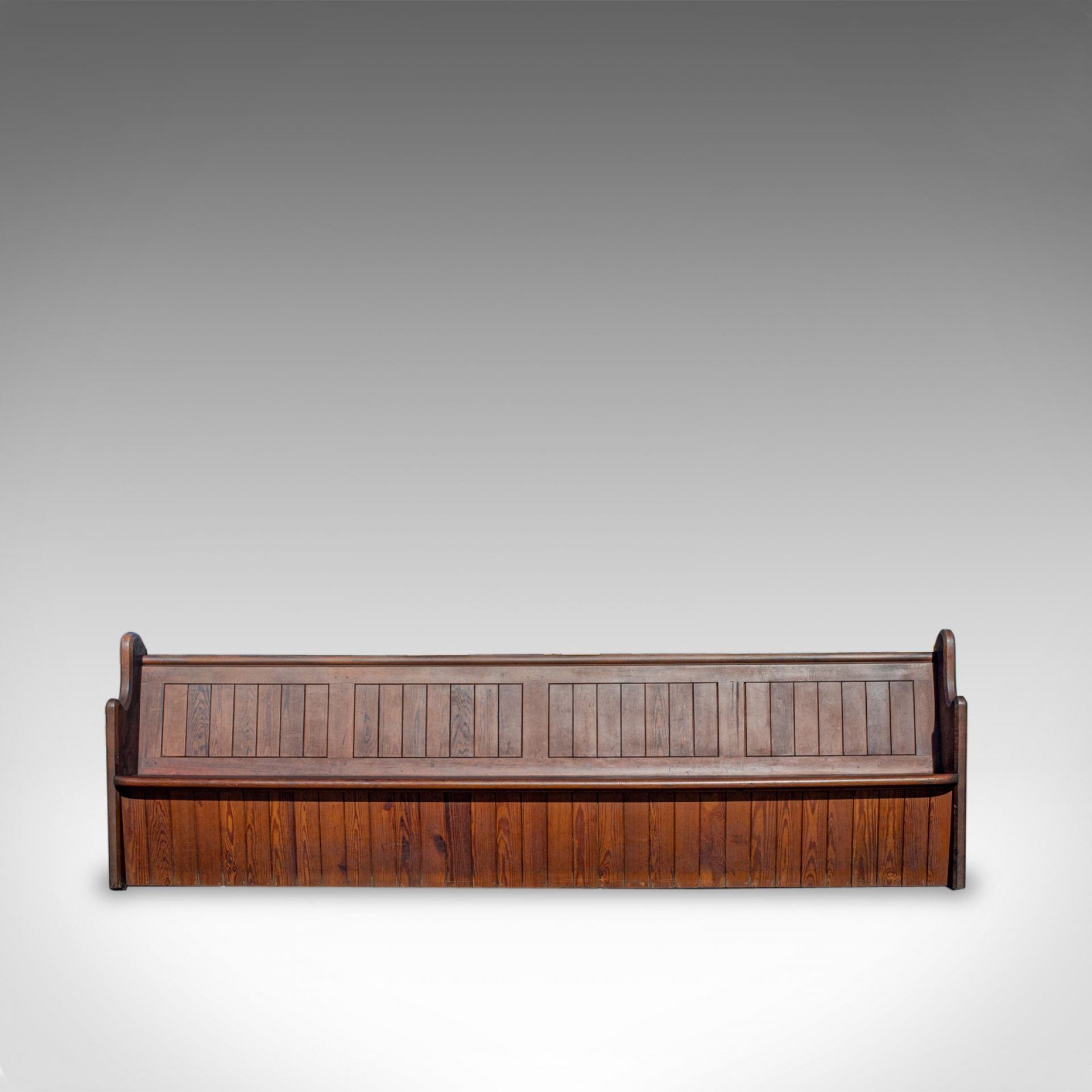 Large Antique Pew, 10 feet, English, Pitch Pine, Bench Seat, 7-8, 19th Century