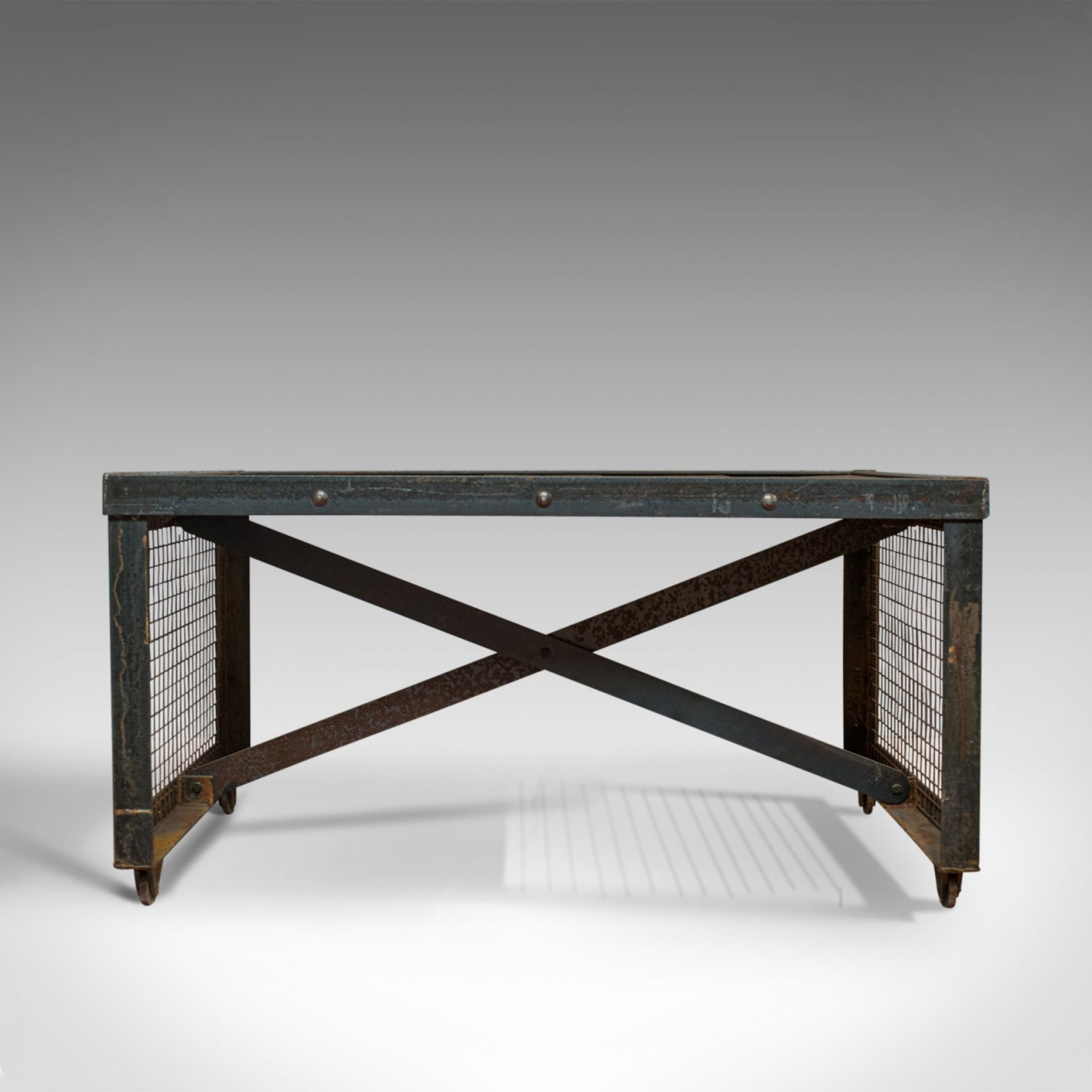 Vintage Industrial Coffee Table, English, Steel, Oak, Late 20th Century