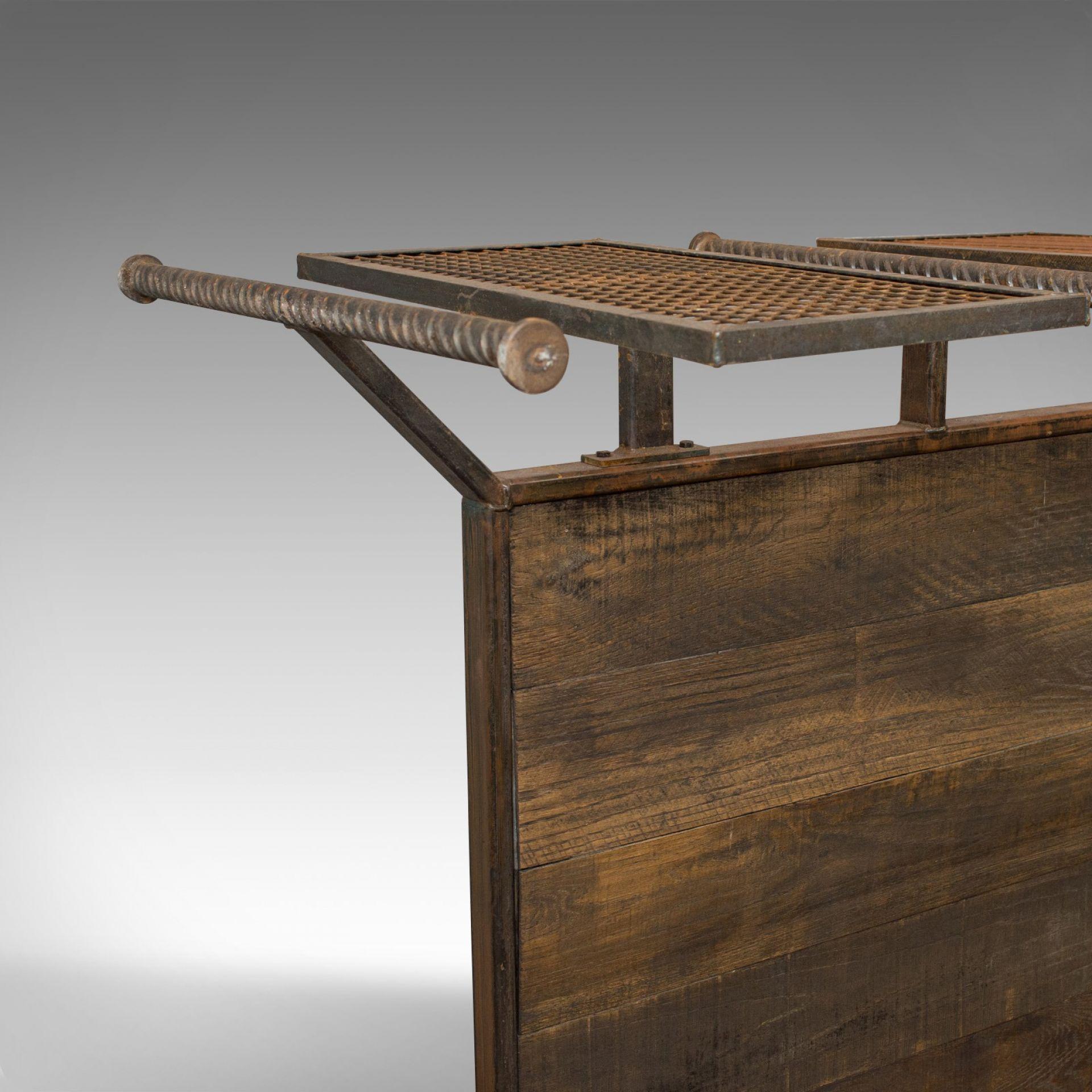 Vintage Clothes Hanging Rail, Steel, Oak, Retail Display, Industrial Taste C20th