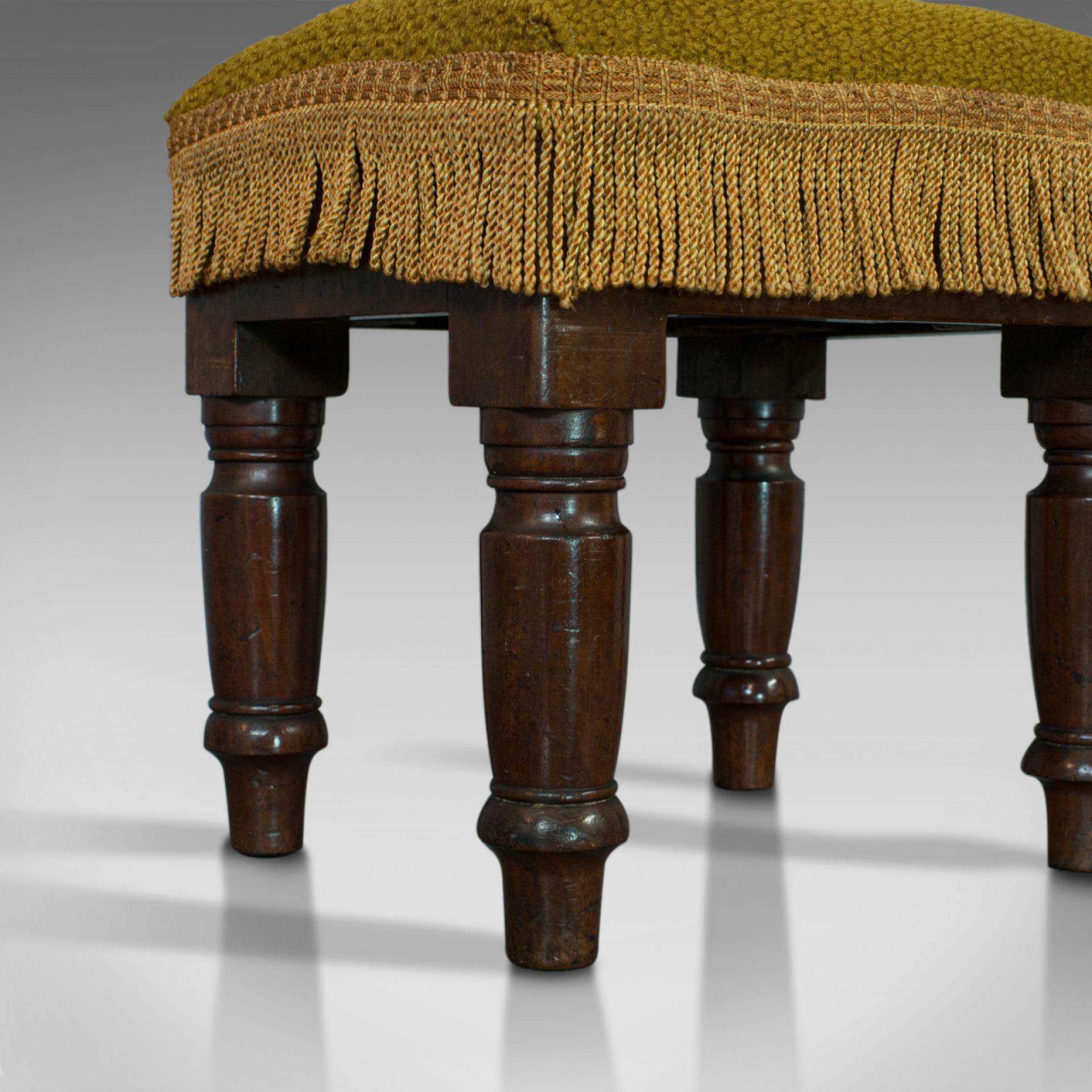 Antique Footstool, English, Mahogany, Stool, Upholstered, Victorian, Circa 1880