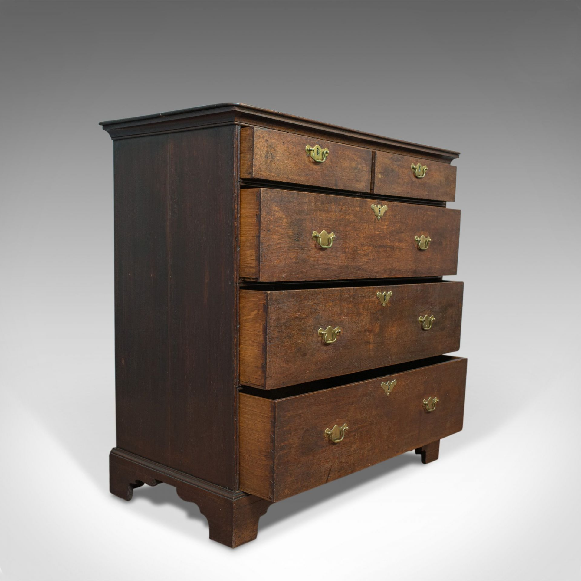 Antique Chest of Drawers, English, Oak, Bedroom, Tallboy, Georgian, Circa 1790