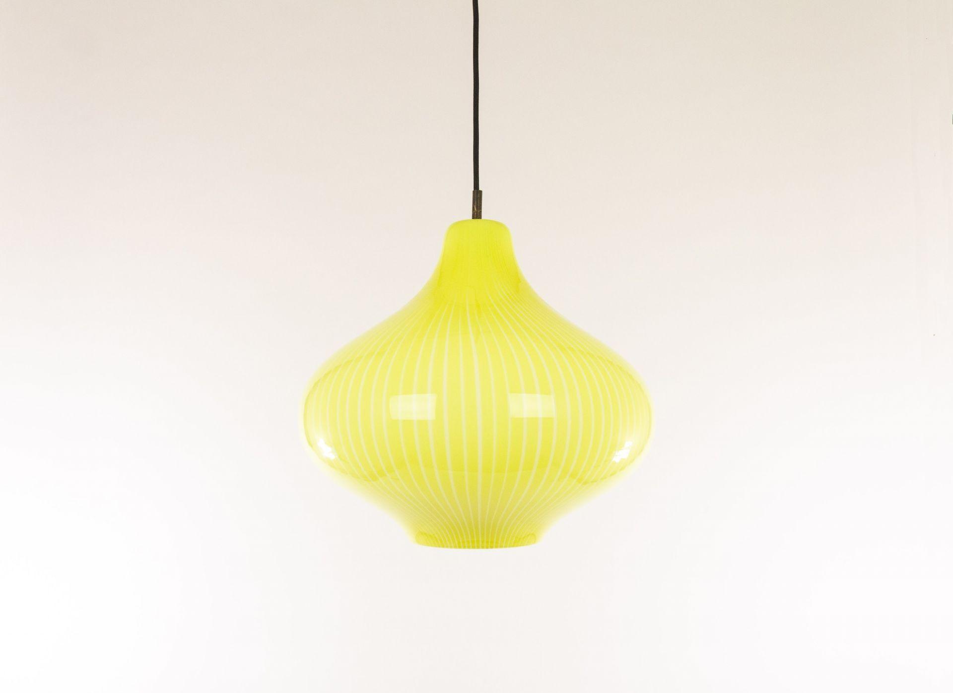 Hand-blown yellow Cipolla Murano glass pendant by Massimo Vignelli for Venini, 1