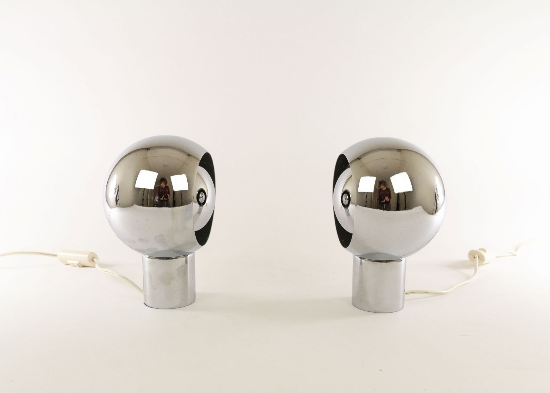 A pair of Italian chrome globe table lamps, 1970s