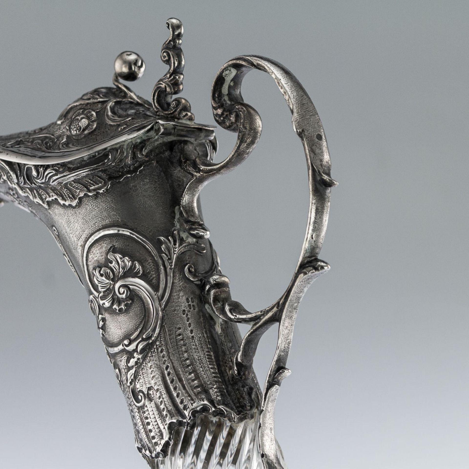 ANTIQUE 20thC DUTCH SOLID SILVER MOUNTED GLASS DECORATIVE CLARET JUG c.1900