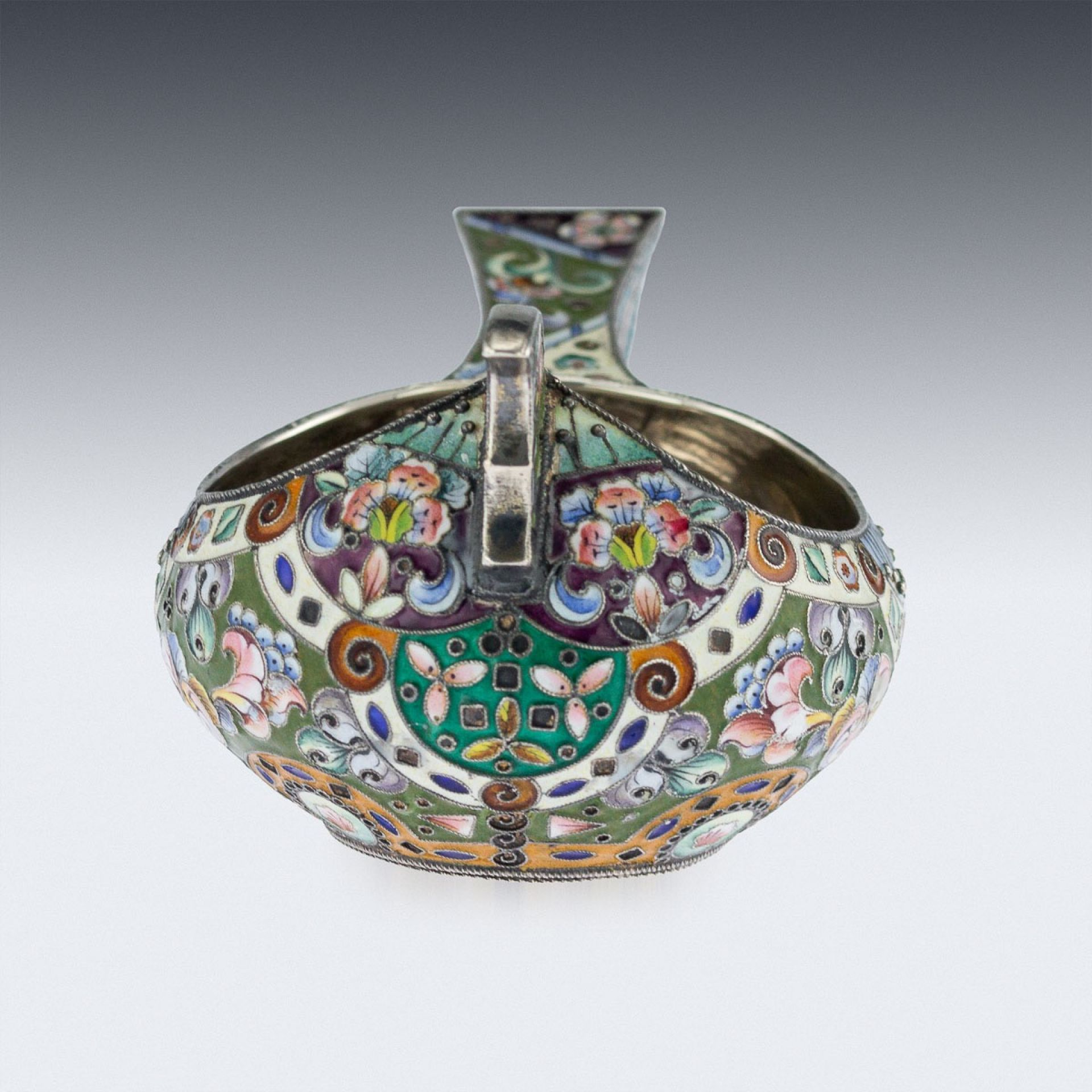 ANTIQUE 20thC RUSSIAN SOLID SILVER & SHADED ENAMEL KOVSH, GRIGORY SBITNEV c.1910