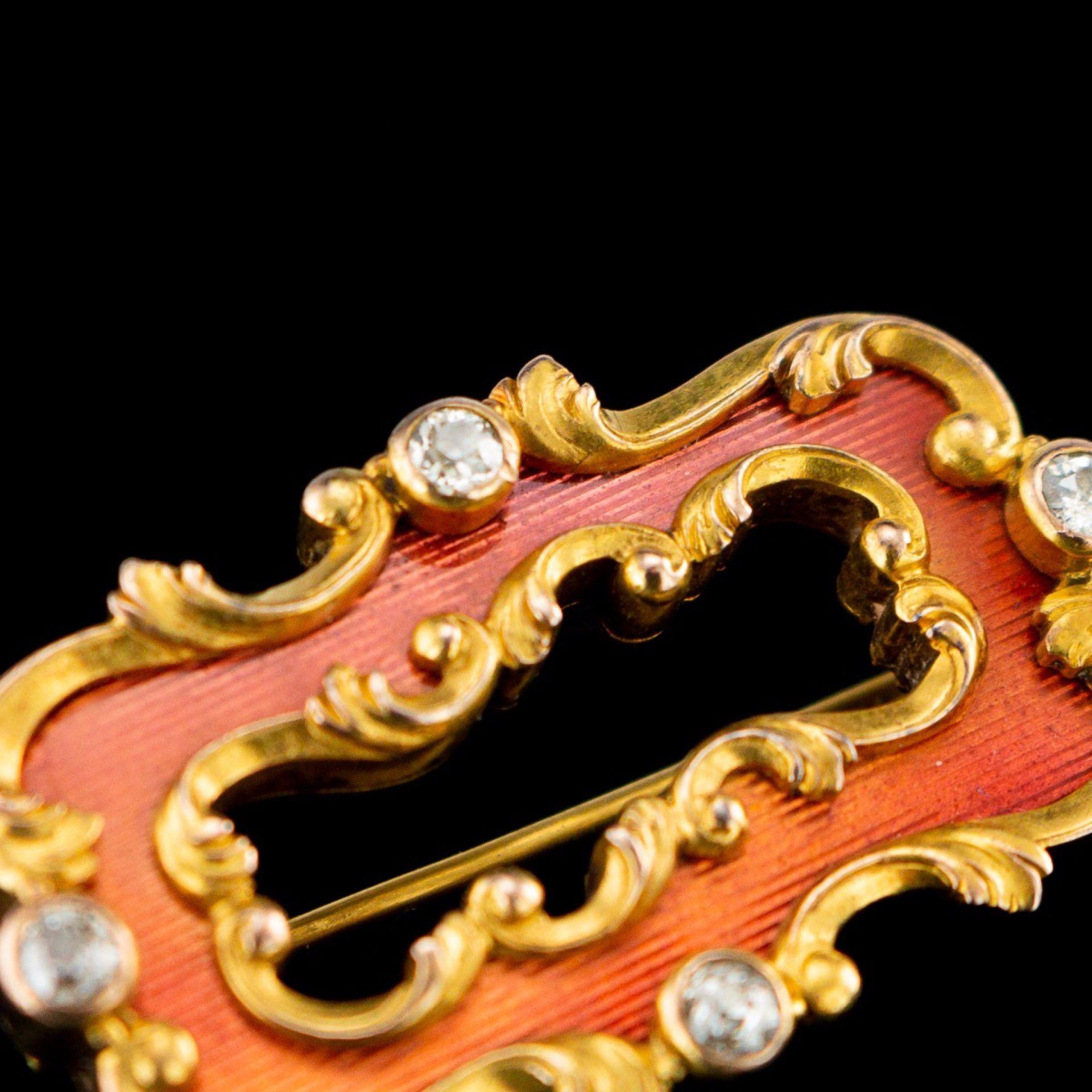ANTIQUE 19thC RUSSIAN FABERGE 56 GOLD & ENAMEL BROOCH, OSKAR PIHL c.1890