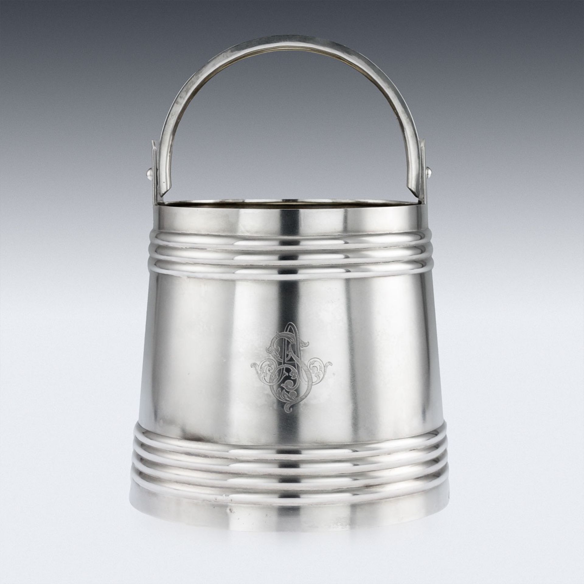 ANTIQUE 20thC RUSSIAN SOLID SILVER VODKA ICE PAIL BUCKET, MOSCOW c.1900