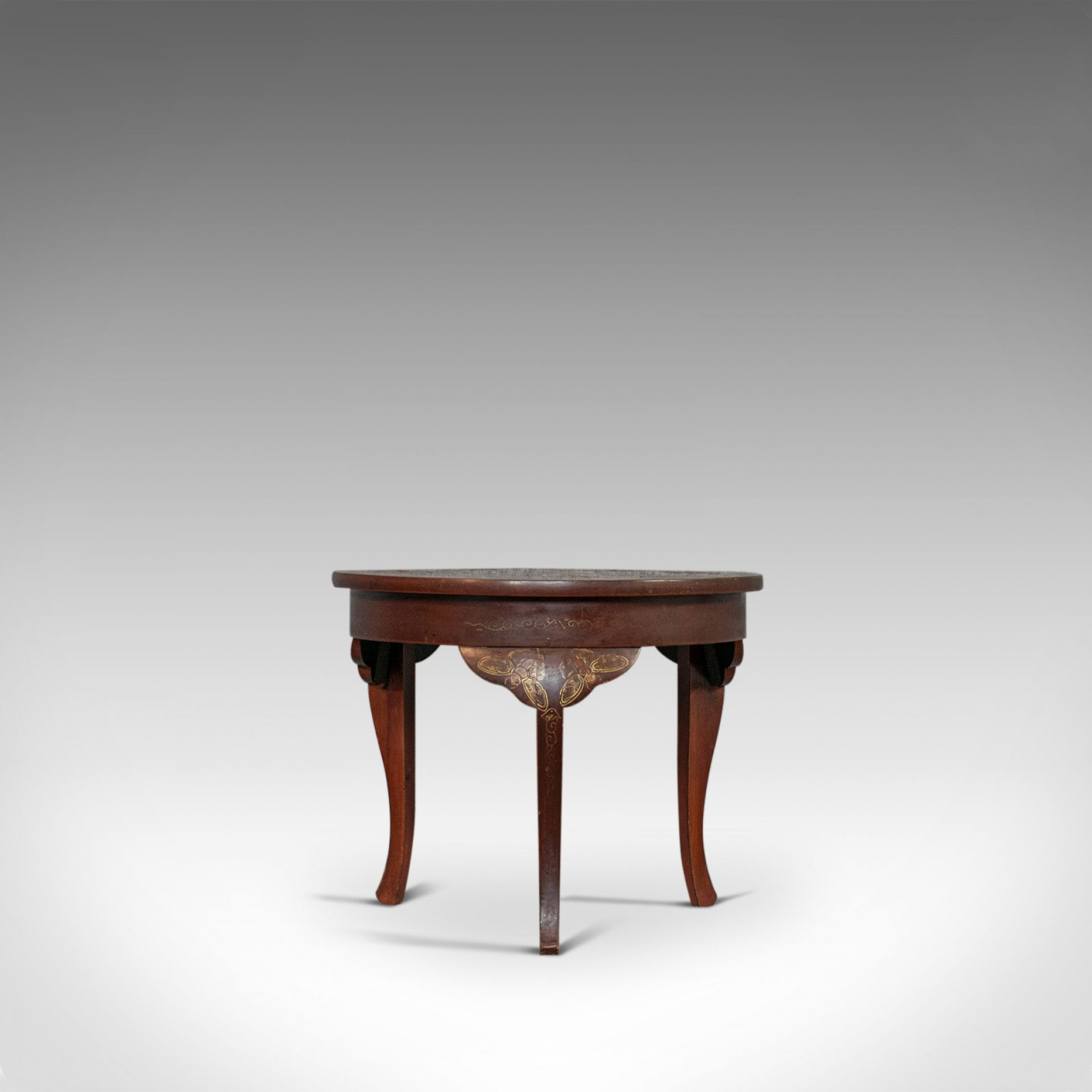 Vintage Side Table, Chinoiserie, English, Chinese Elm, Occasional, Lamp, C.1930