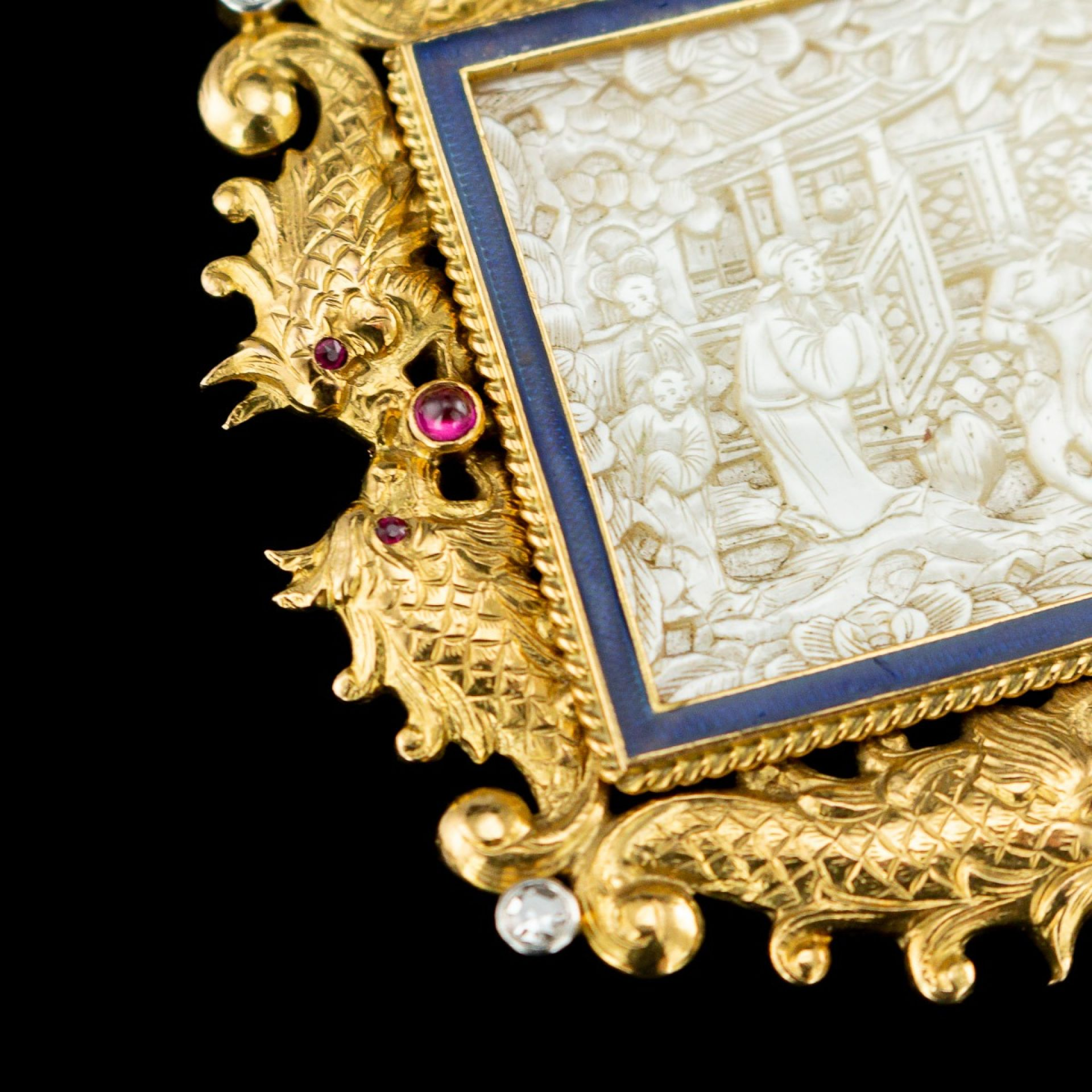 ANTIQUE 19thC FRENCH CHINOISERIE 18K GOLD, GEM-SET & ENAMEL BROOCH c.1890