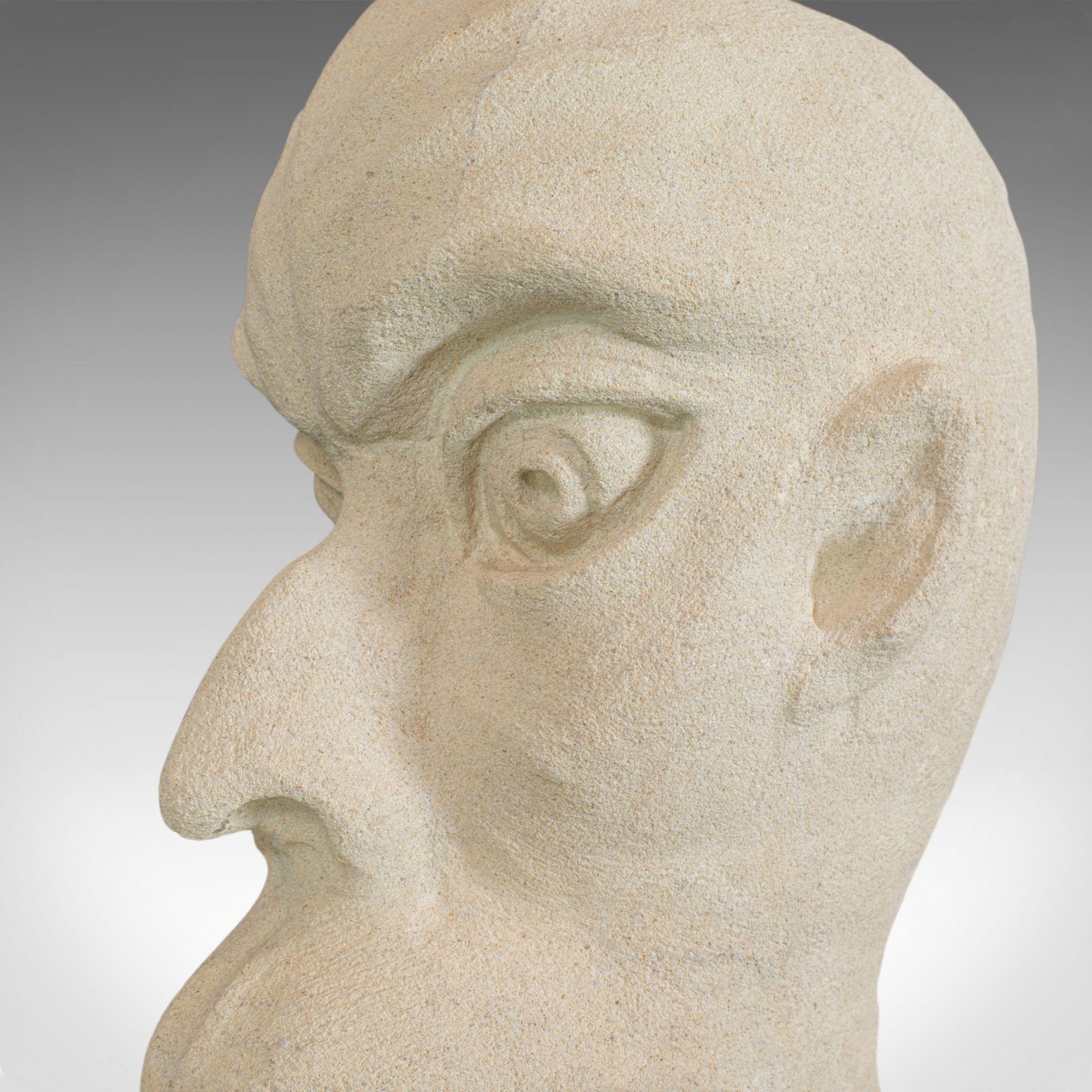 Marvin' Sculptural Artwork, Dominic Hurley, English, Bath Stone, Bust