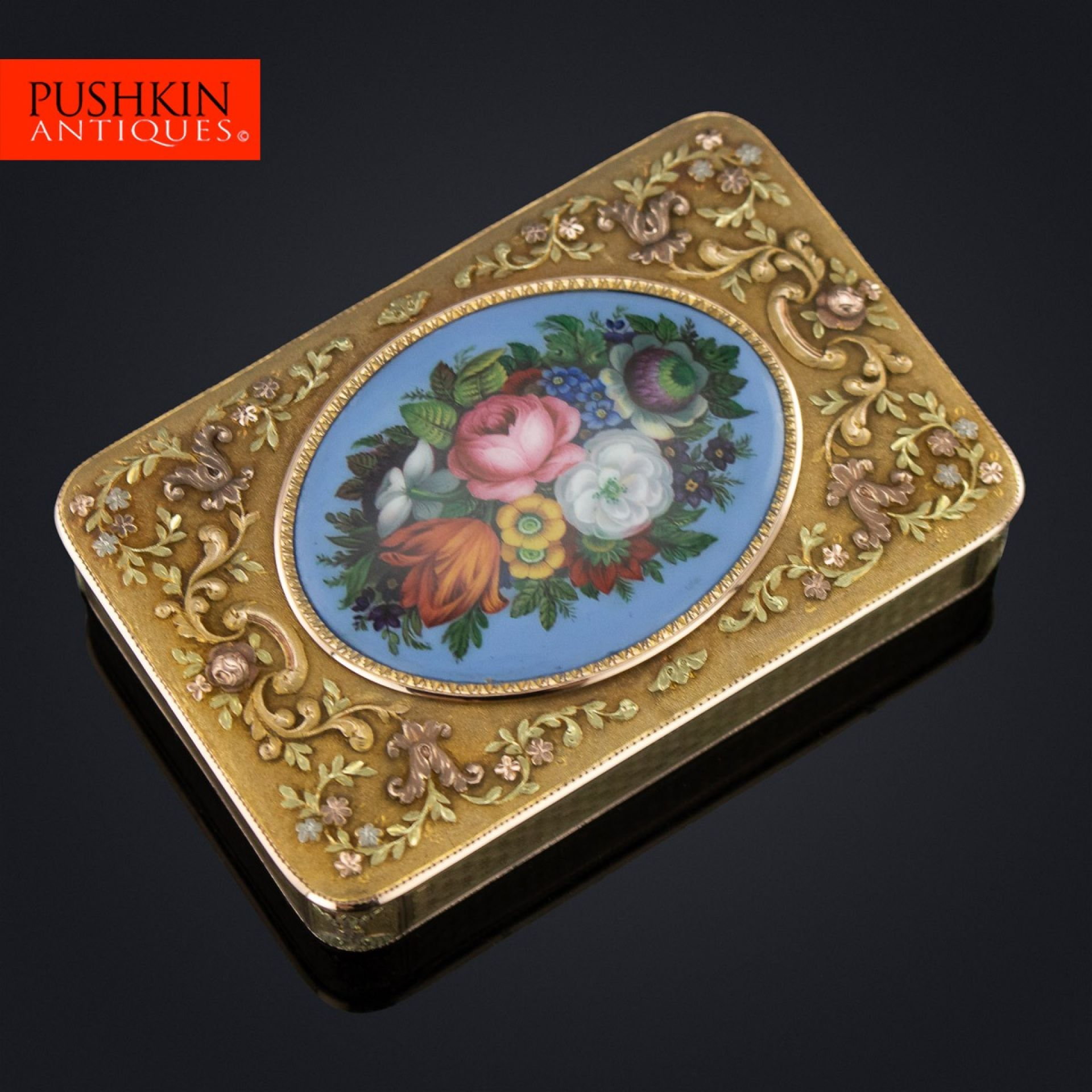 ANTIQUE 19thC GERMAN 18K THREE-COLOUR GOLD & ENAMEL SNUFF BOX c.1860