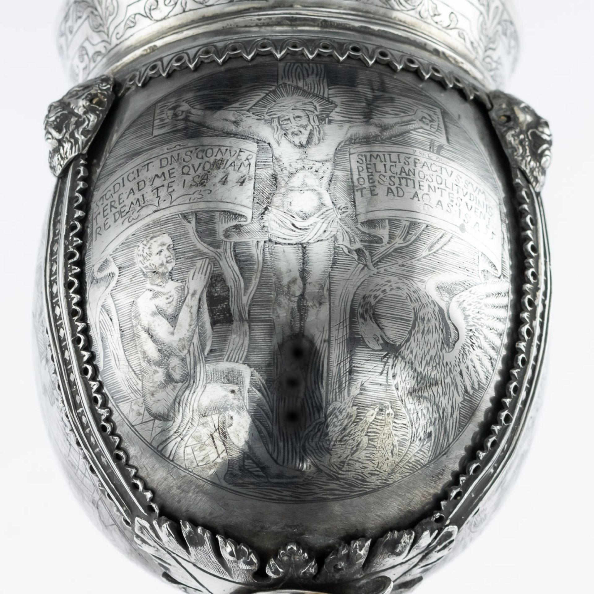 ANTIQUE 19thC CONTINENTAL SOLID SILVER & NIELLO ENAMEL CUP WITH COVER c.1820
