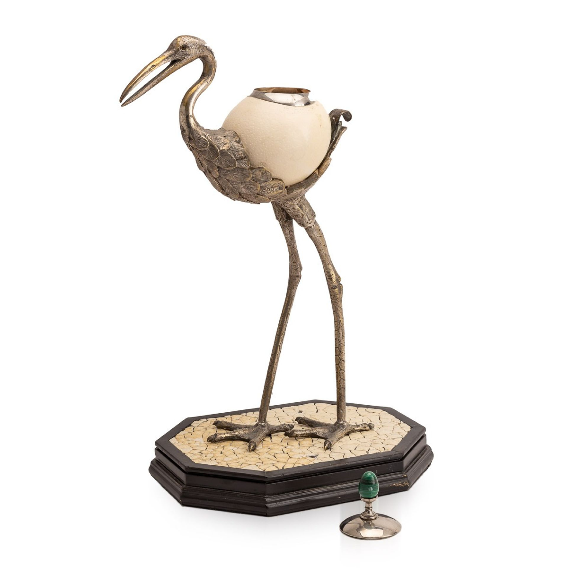 ANTHONY REDMILE OSTRICH EGG BOX MOUNTED ON SILVER PLATED CRANE, LONDON c.1970