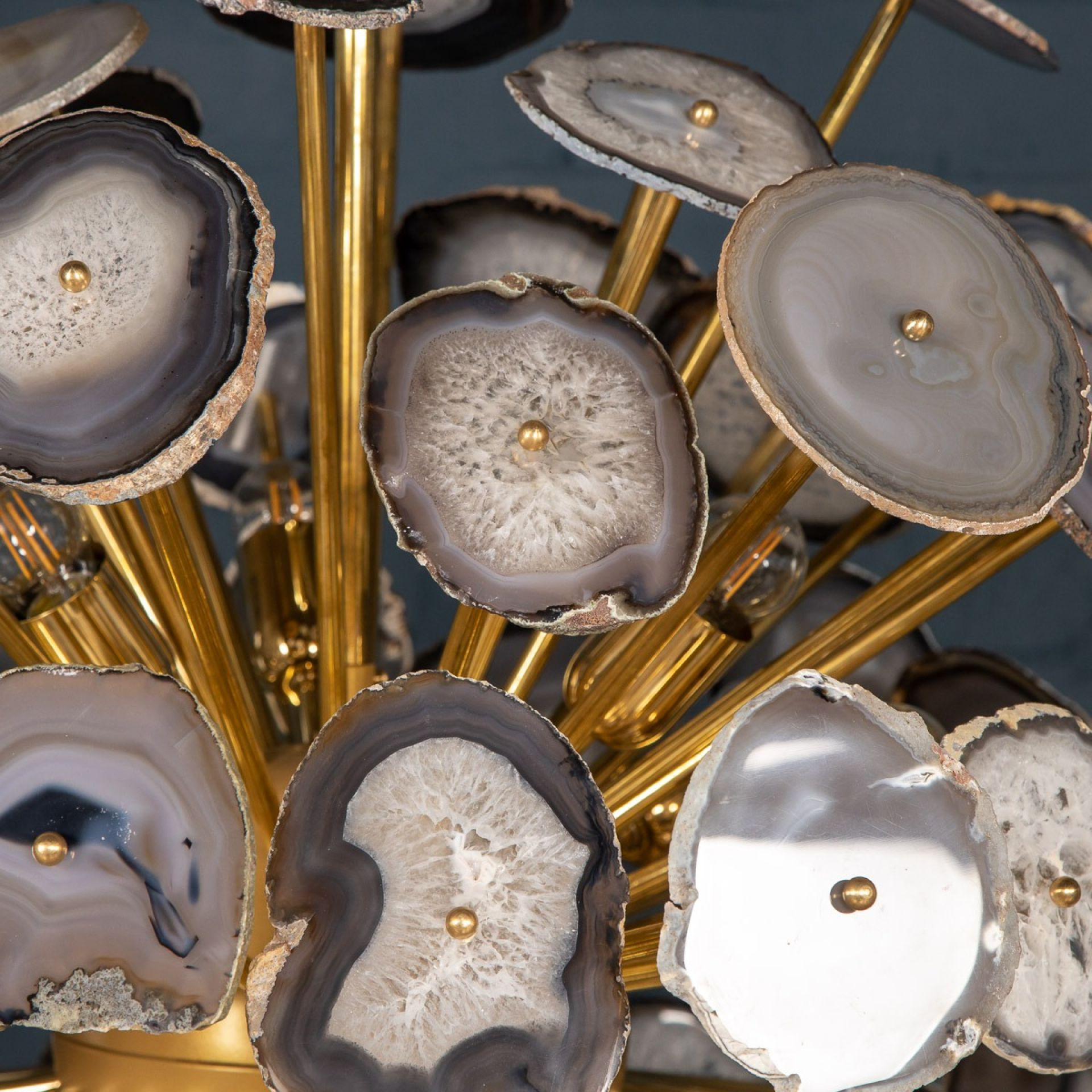 "LARGE ITALIAN ""SPUTNIK"" CHANDELIER MADE FROM SECTIONS OF AGATE"