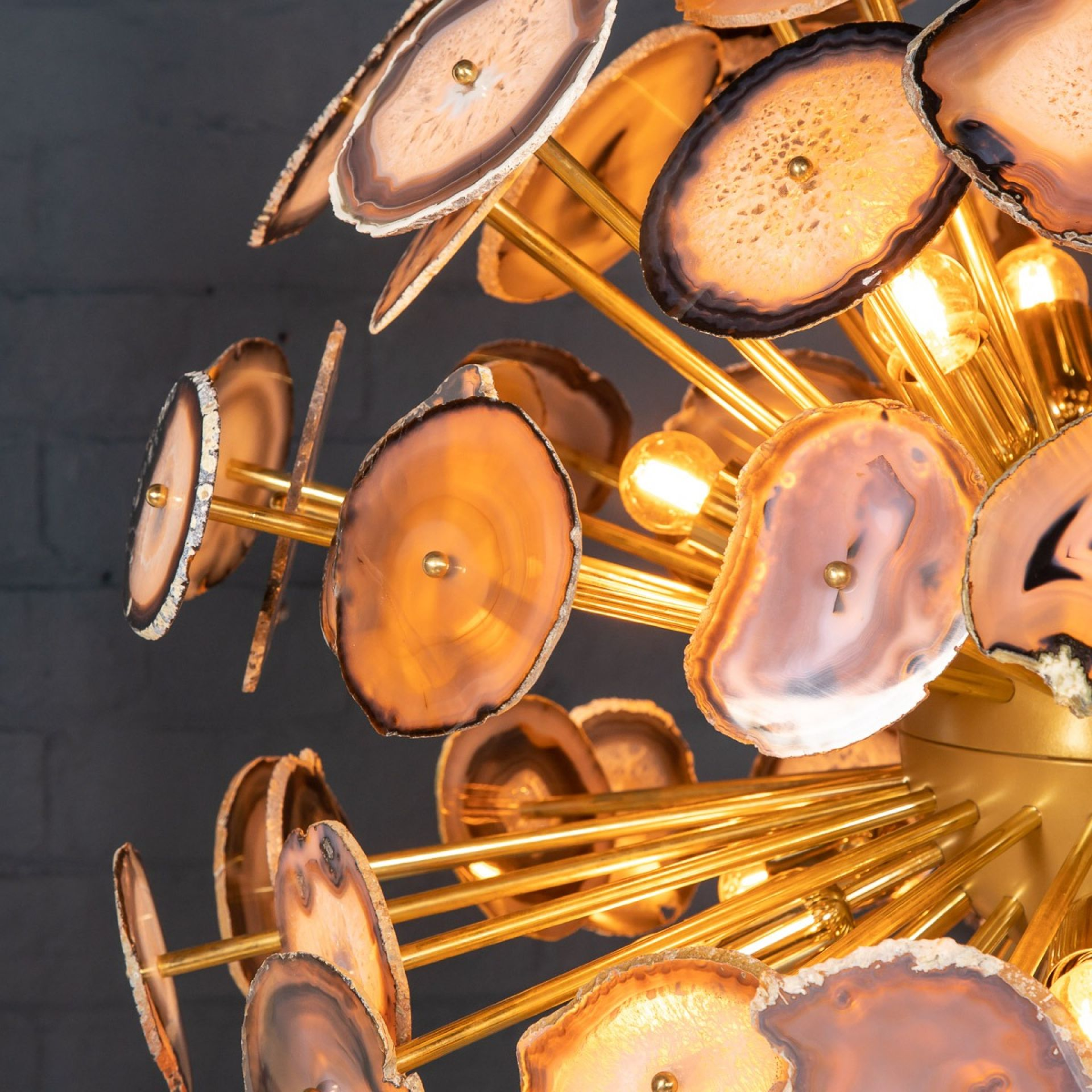 """LARGE ITALIAN """"SPUTNIK"""" CHANDELIER MADE FROM SECTIONS OF AGATE"""
