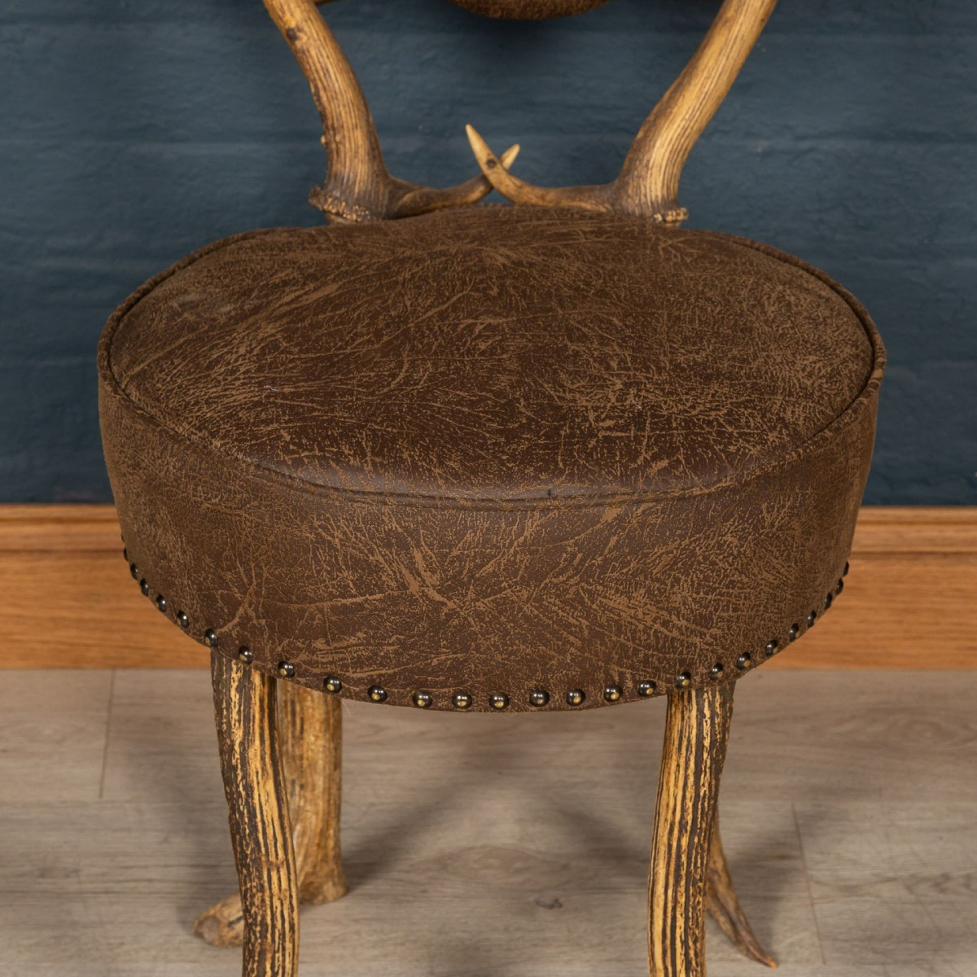 ANTIQUE 19thC GERMAN PAIR OF HALL ANTLER HORN CHAIRS, BLACK FOREST c.1880