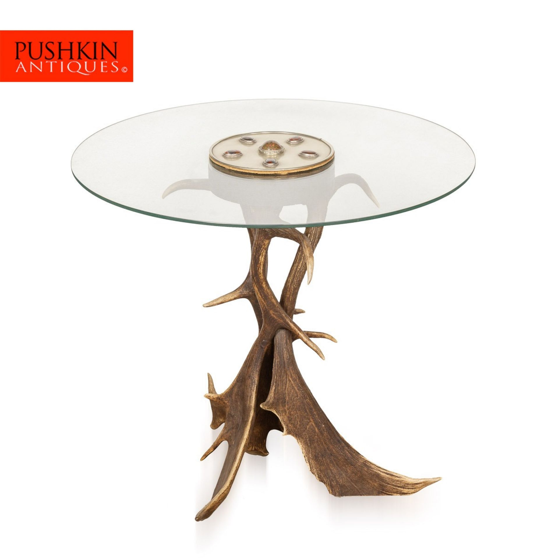 UNUSUAL ANTLER HORN SIDE TABLE BY ANTHONY REDMILE, LONDON c.1970