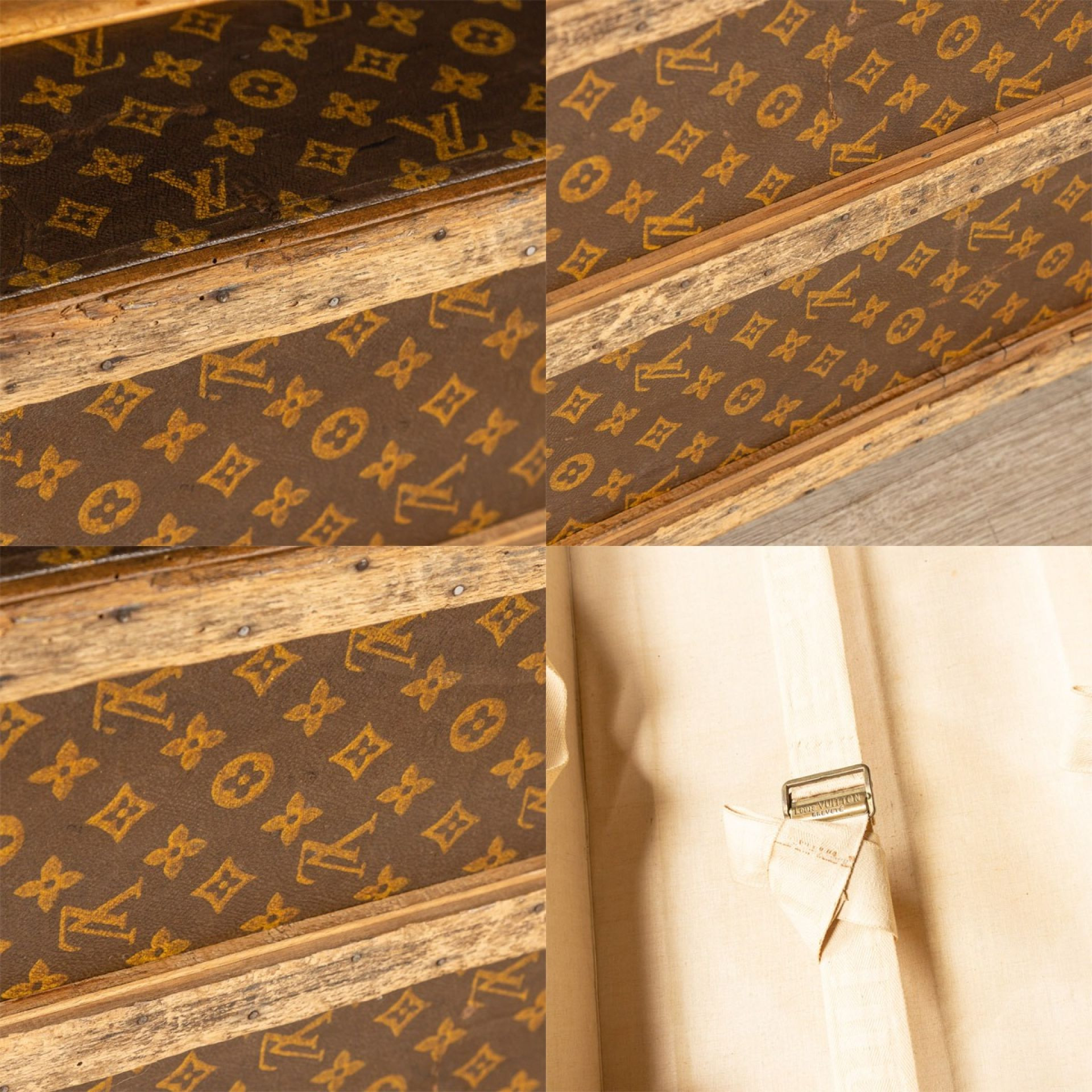 ANTIQUE 20thC LOUIS VUITTON CABIN TRUNK IN MONOGRAMMED CANVAS, FRANCE c.1920