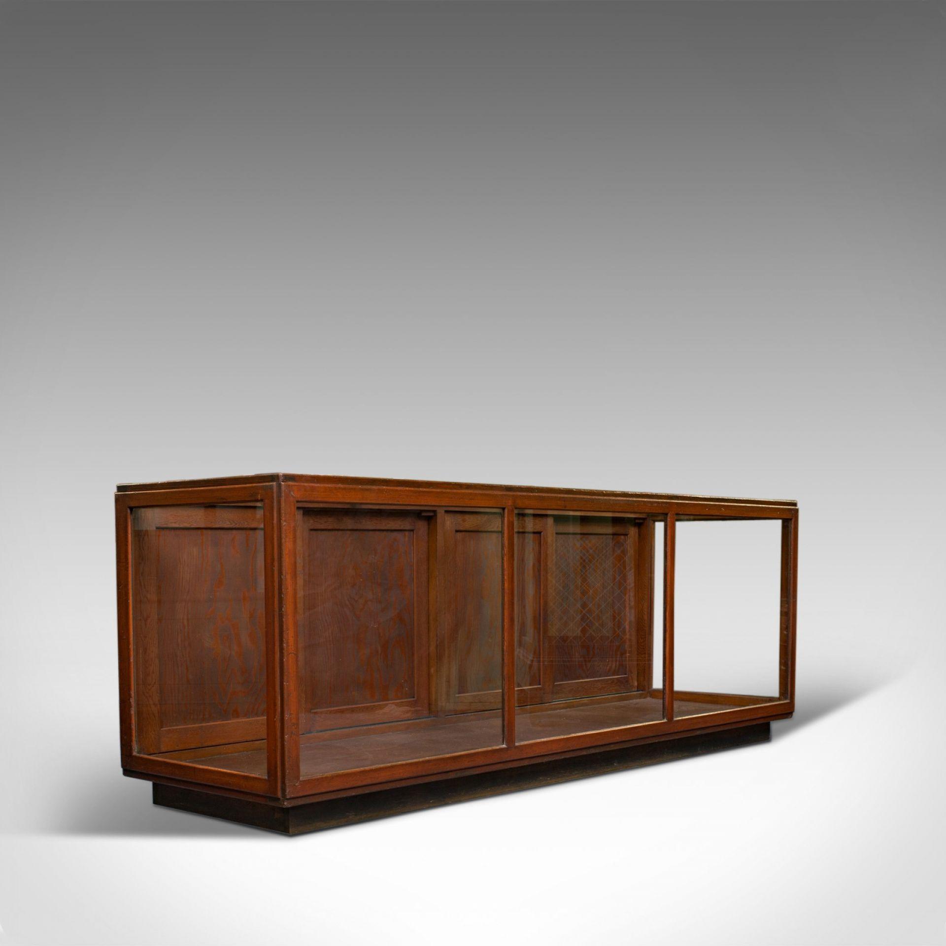 Large Antique Display Cabinet, English, Pine, Showcase, Edwardian, Circa 1910