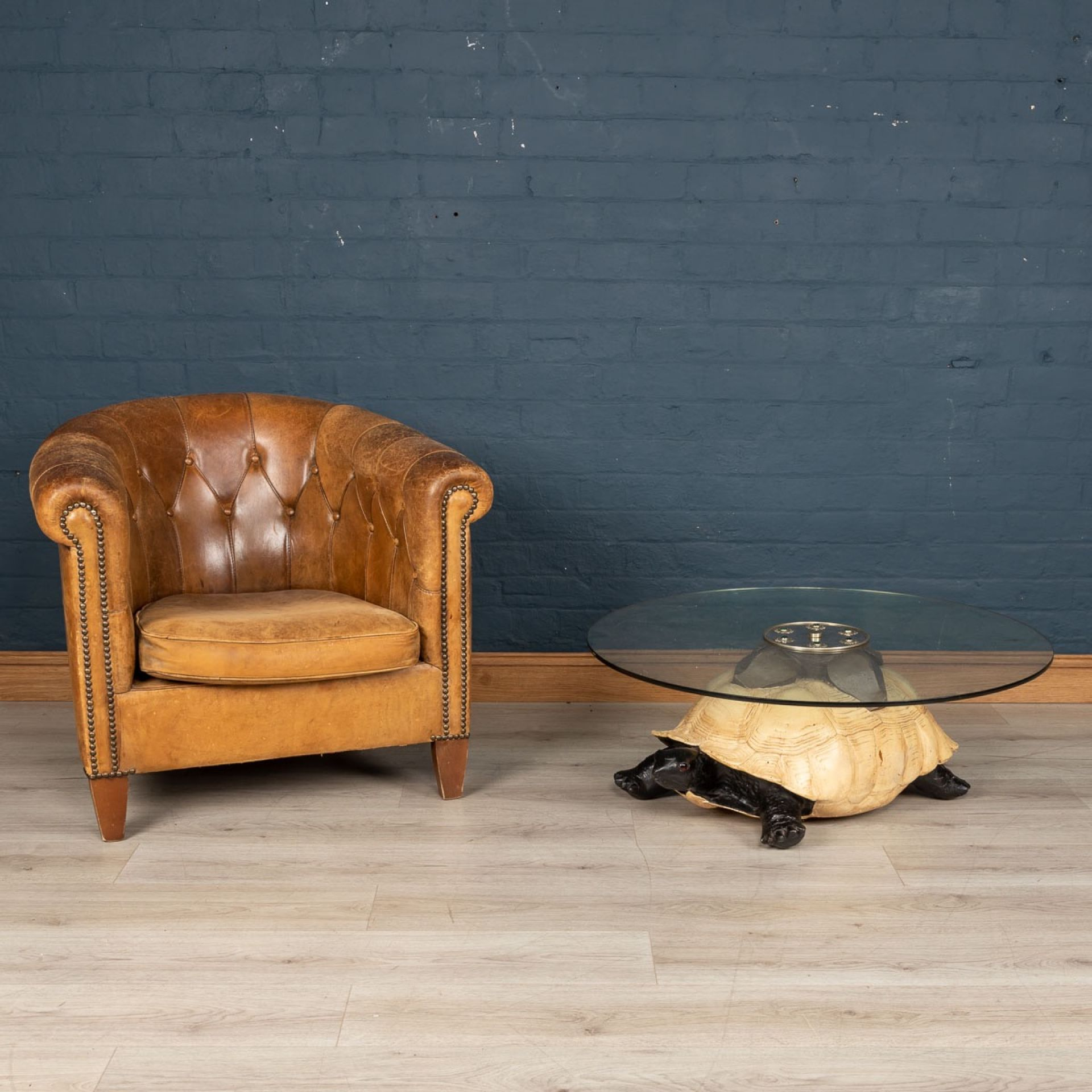 UNUSUAL COFFEE TABLE IN THE FORM OF A TURTLE BY ANTHONY REDMILE, LONDON c.1970