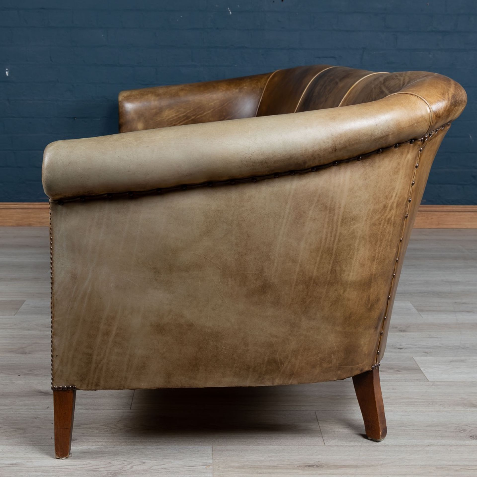 MASSIVE 20thC DUTCH SHEEPSKIN LEATHER SOFA c.1970