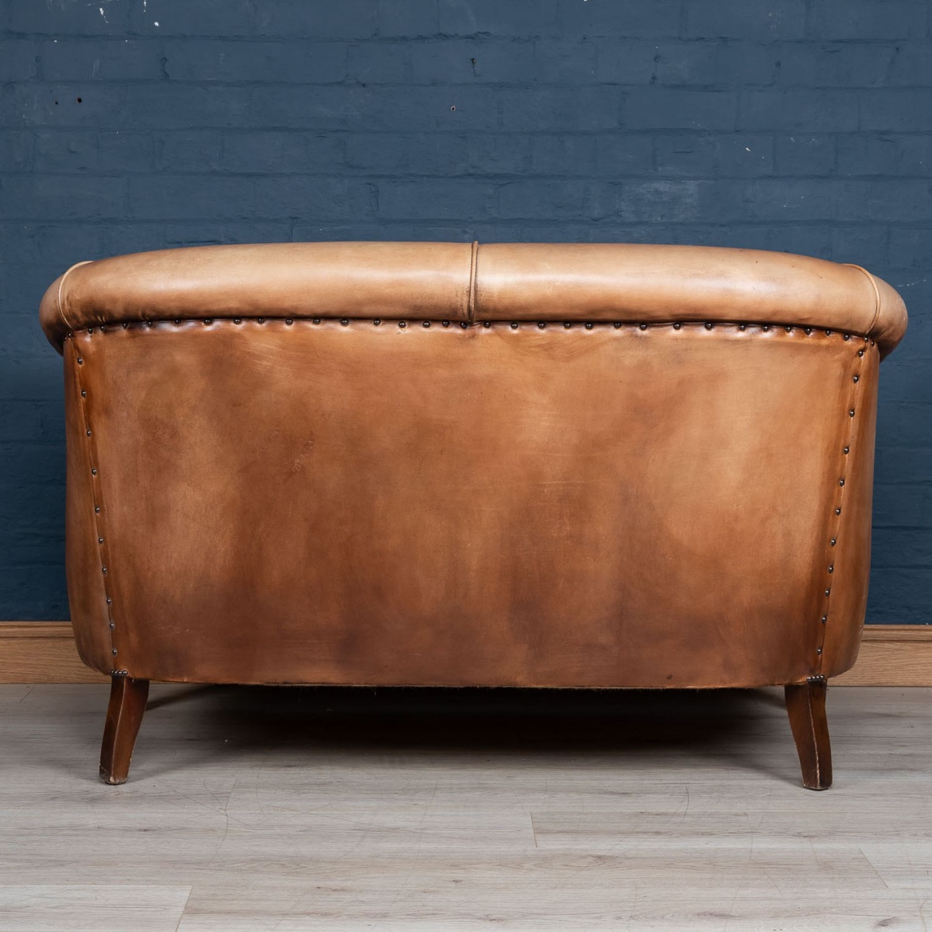 LATE 20thC DUTCH TWO SEATER LEATHER SOFA c.1970