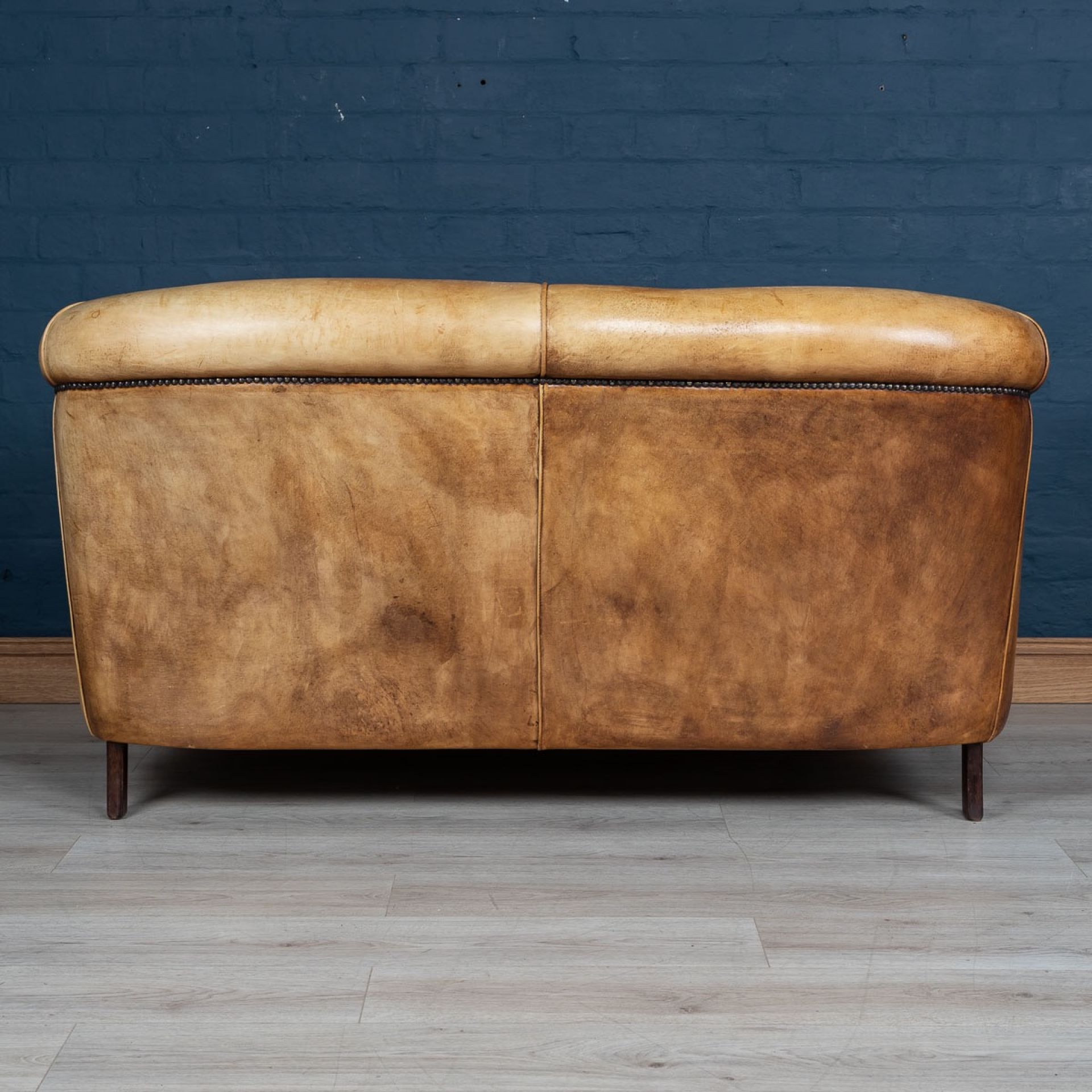 SUPERB 20thC DUTCH TWO SEATER TAN LEATHER SOFA c.1980