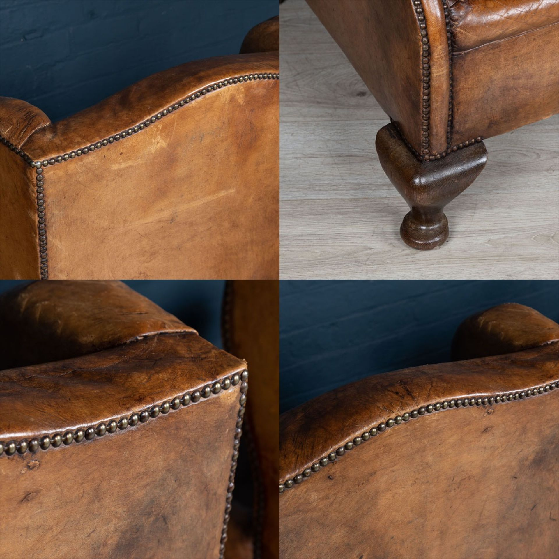 ANTIQUE 20thC PAIR OF DUTCH LEATHER WING BACK ARMCHAIRS c.1900