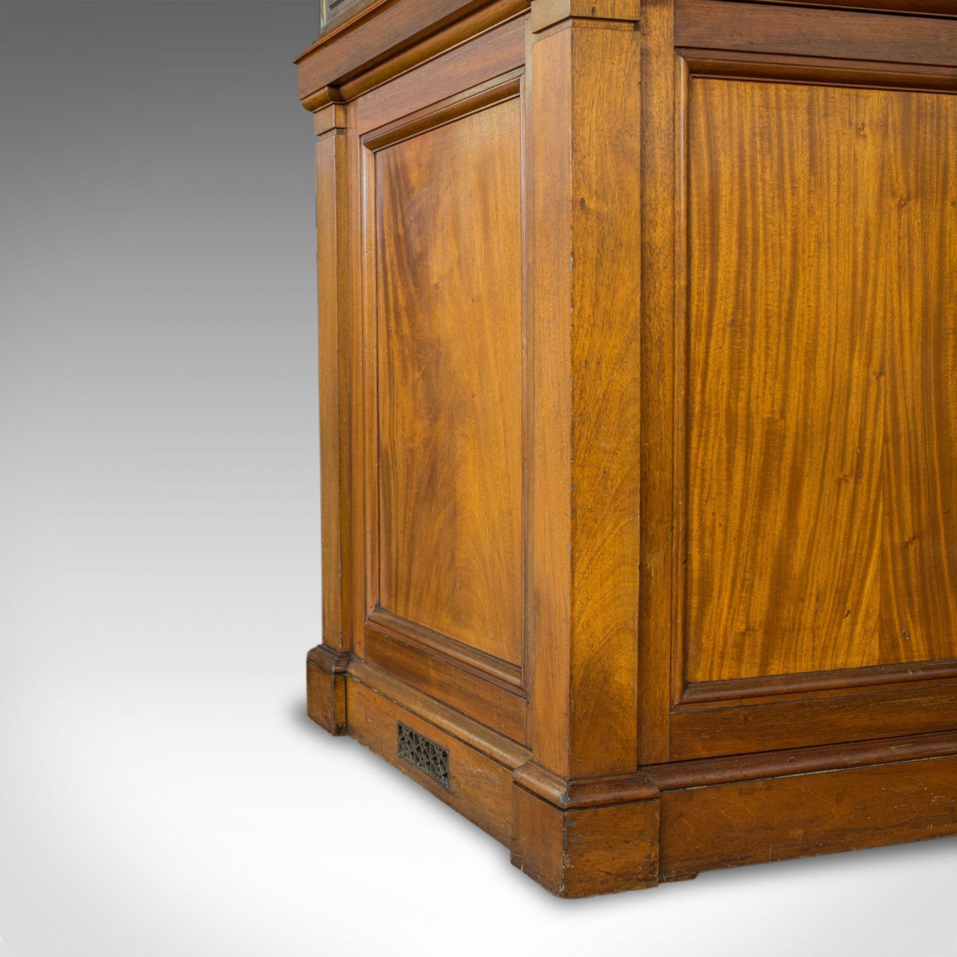 Antique Showcase Cabinet, English, Walnut, Bronze, Display, Museum, Circa 1900