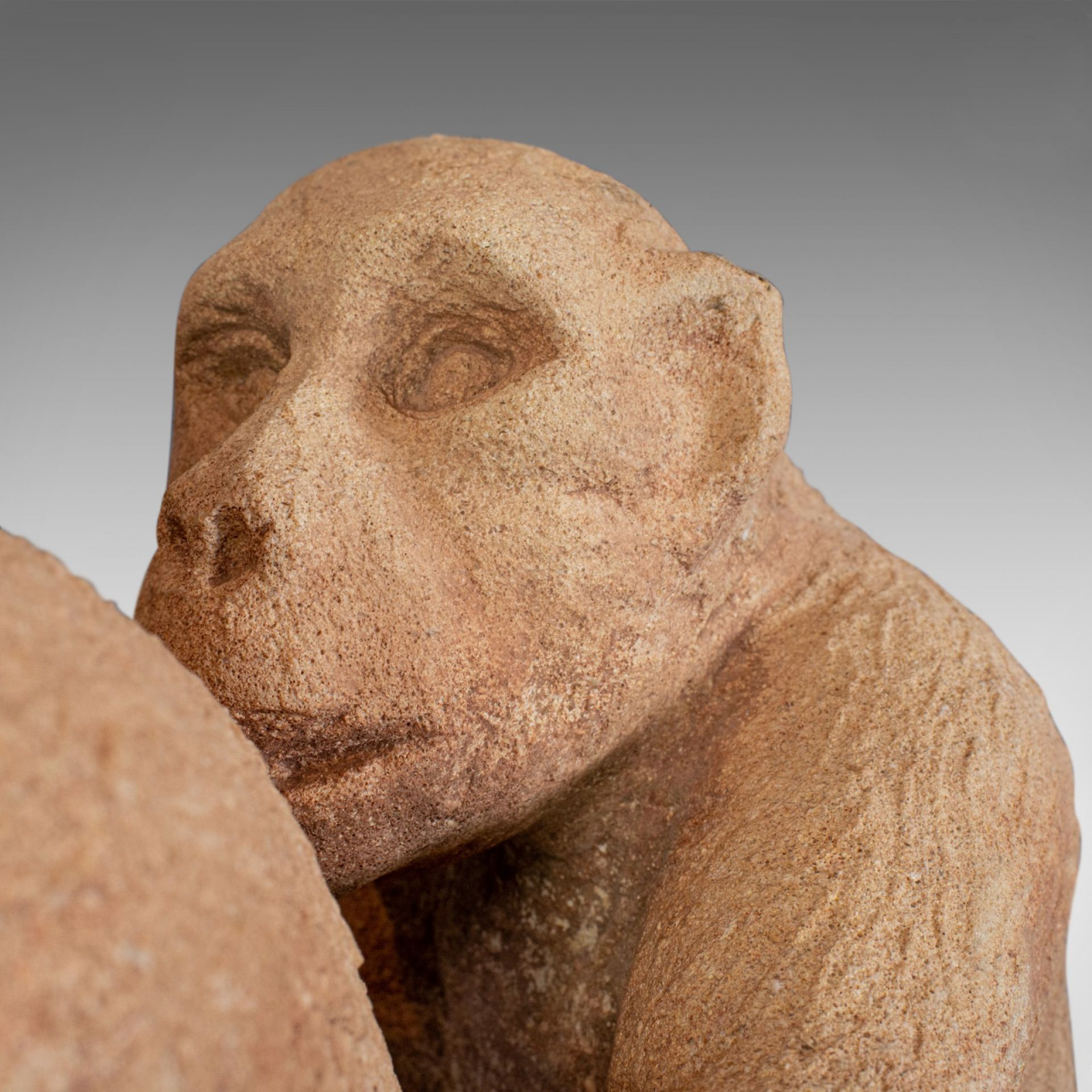 Sculpture of Sitting Macaques, English, Bath Stone, Dominic Hurley