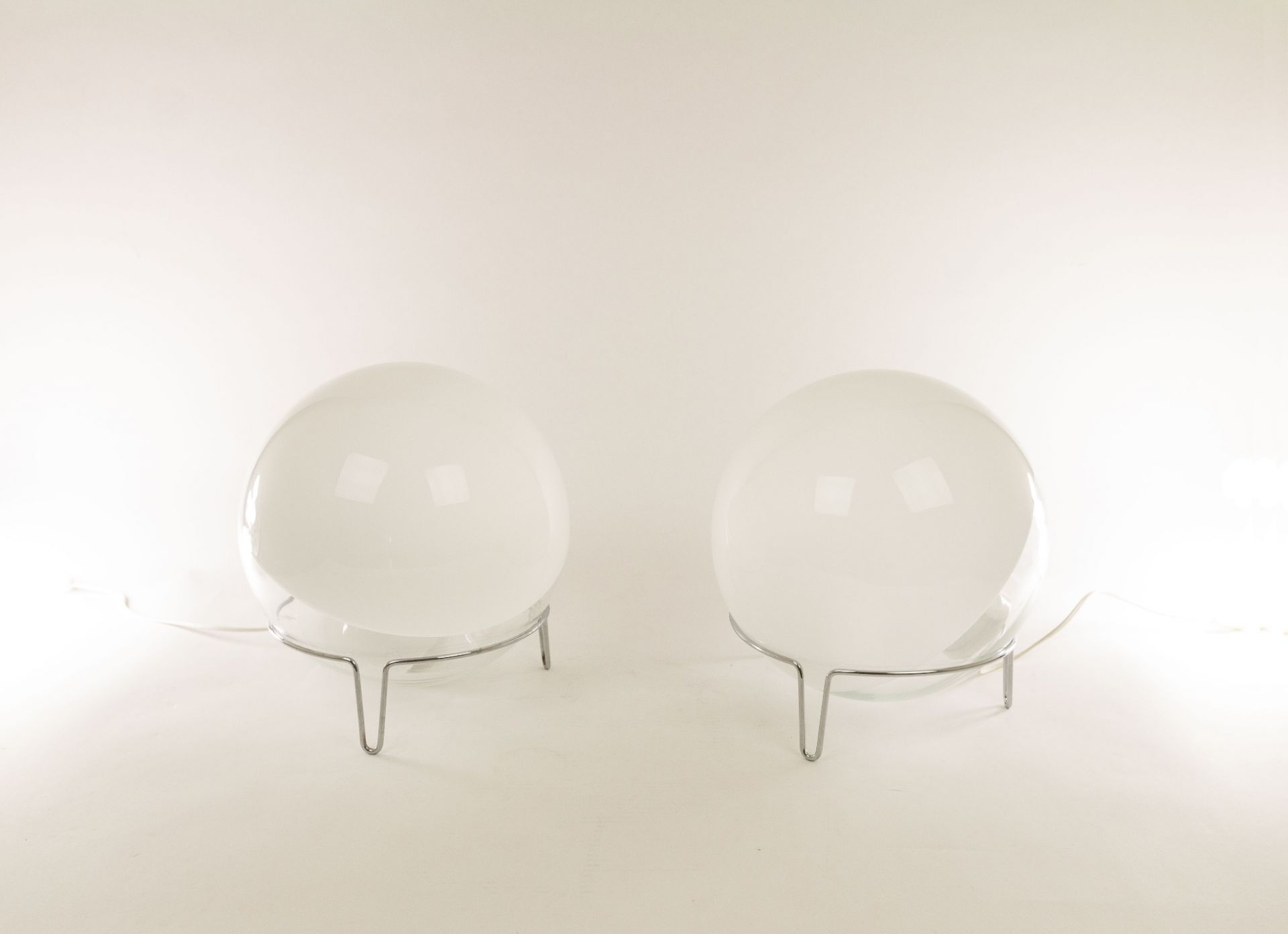 Pair of medium sized Murano glass table lamps by Angelo Mangiarotti for Skipper