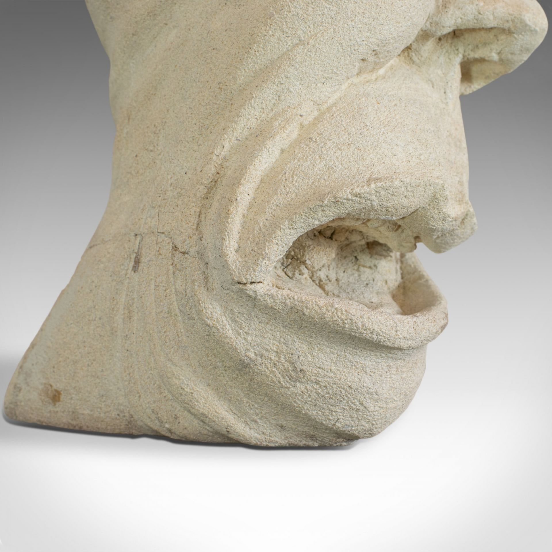The Twisted Face Bust, Dominic Hurley, English, Bath Stone, Sculpture