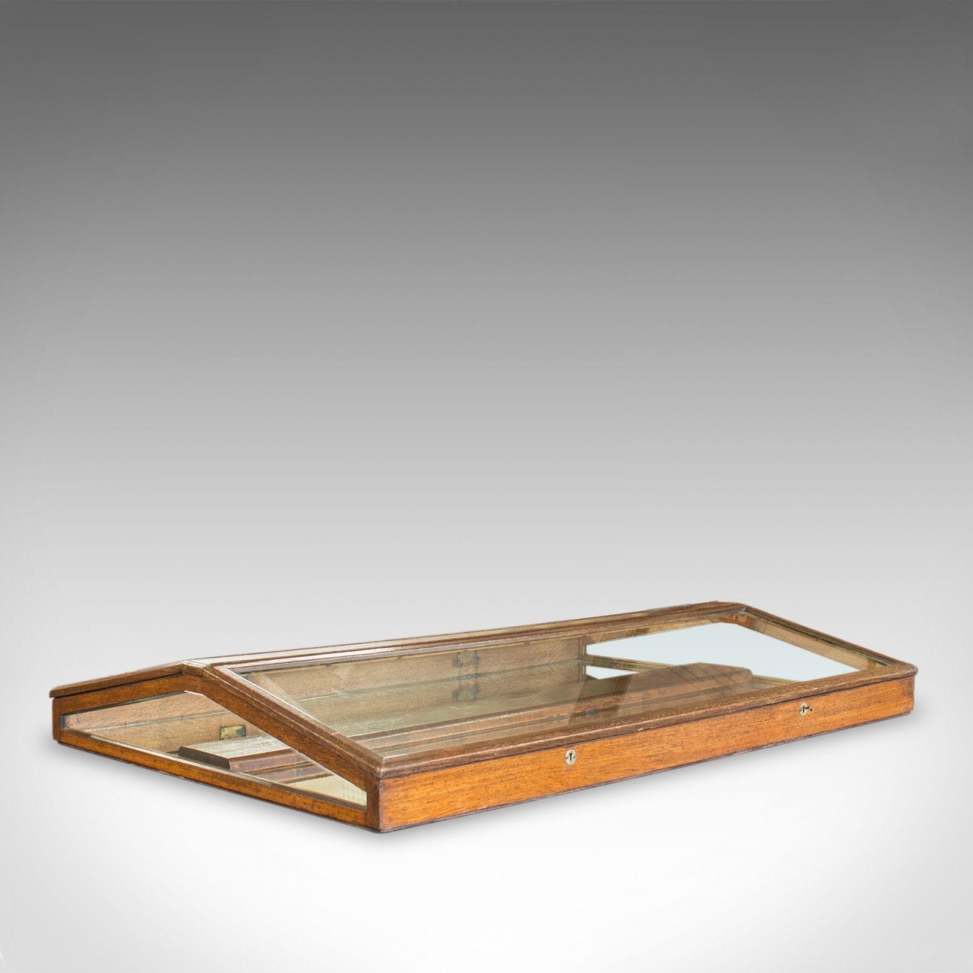 Antique Counter Display Cabinet, English, Victorian, Oak, Glass, Showcase