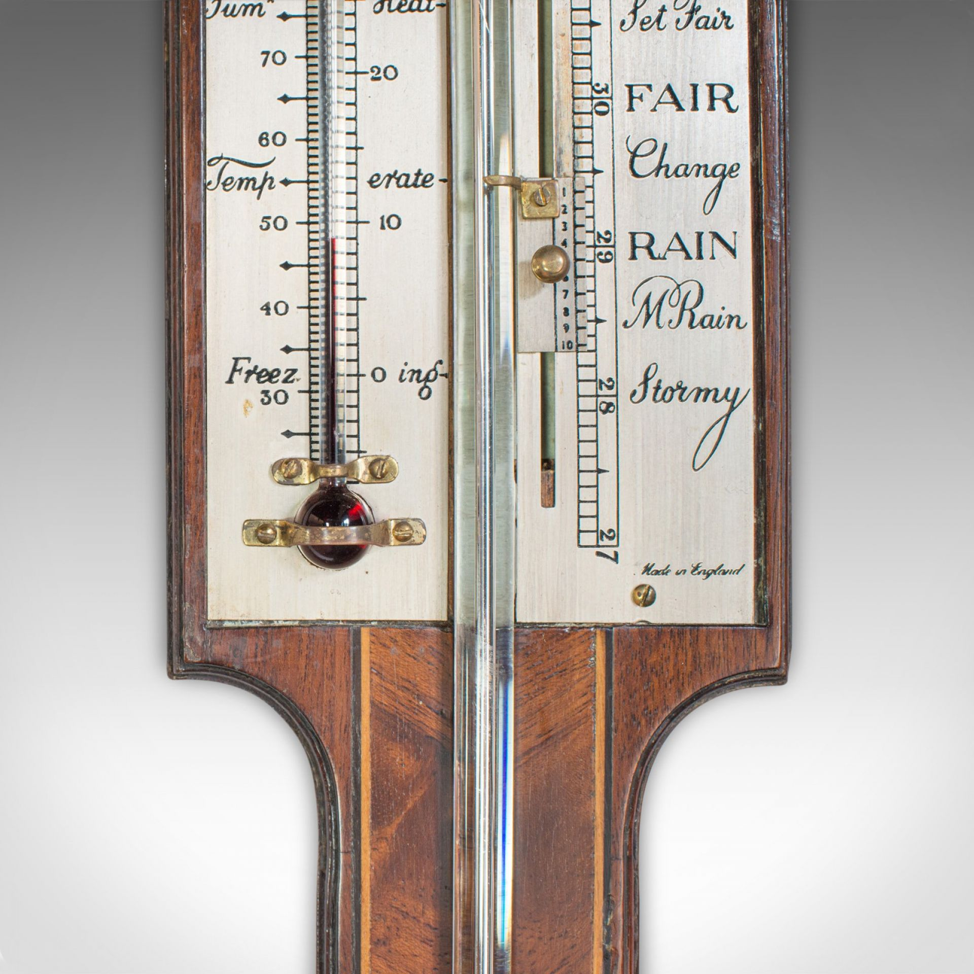 Antique Comitti Stick Barometer, English, Rosewood, Mahogany, Feather, Fan