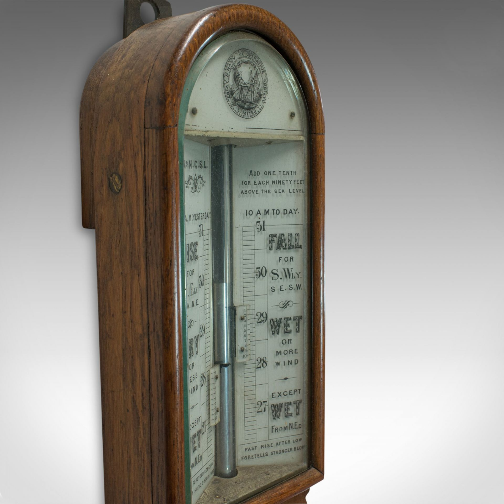Antique Stick Barometer, English, Oak, Twin Vernier, Army and Navy, Victorian